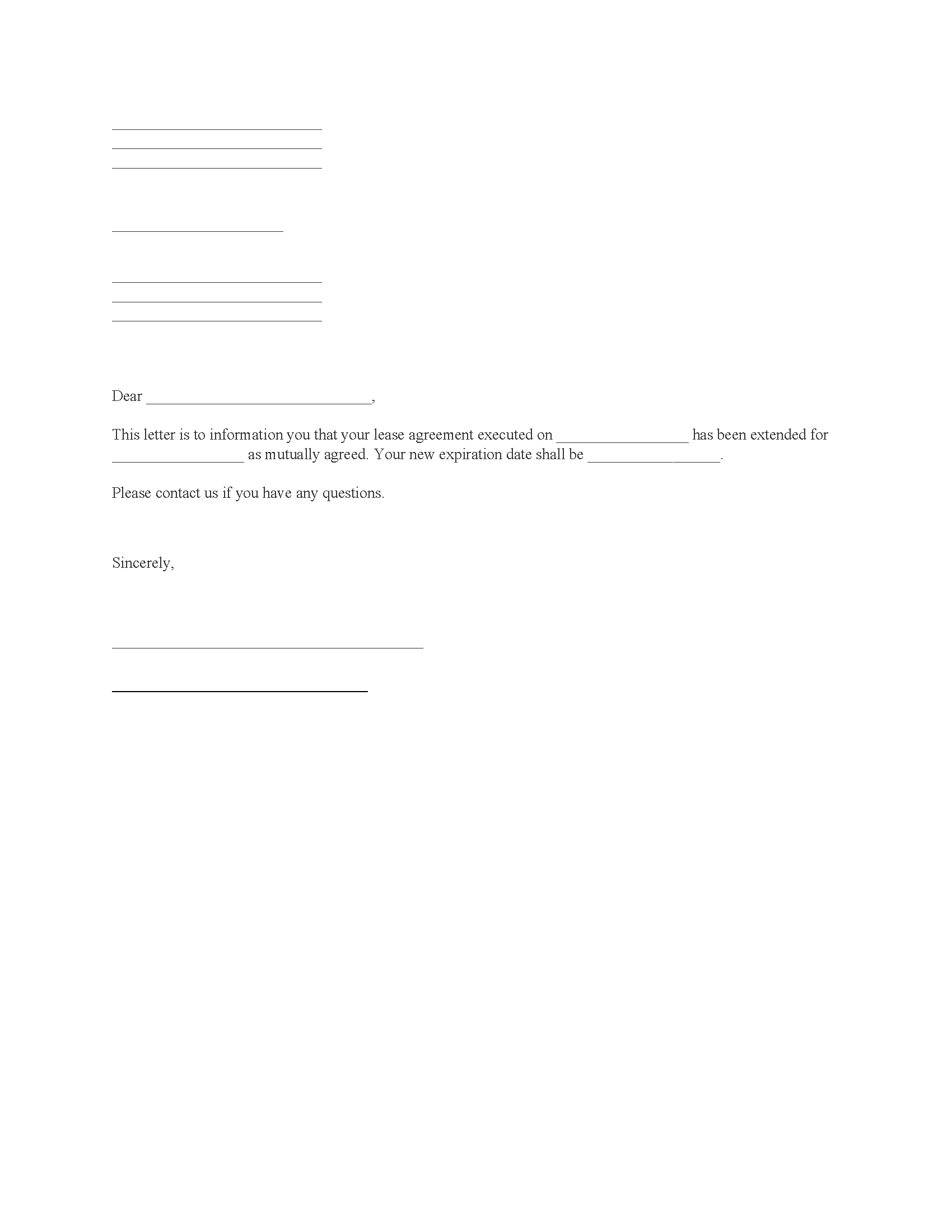 Lease Extension Agreement
