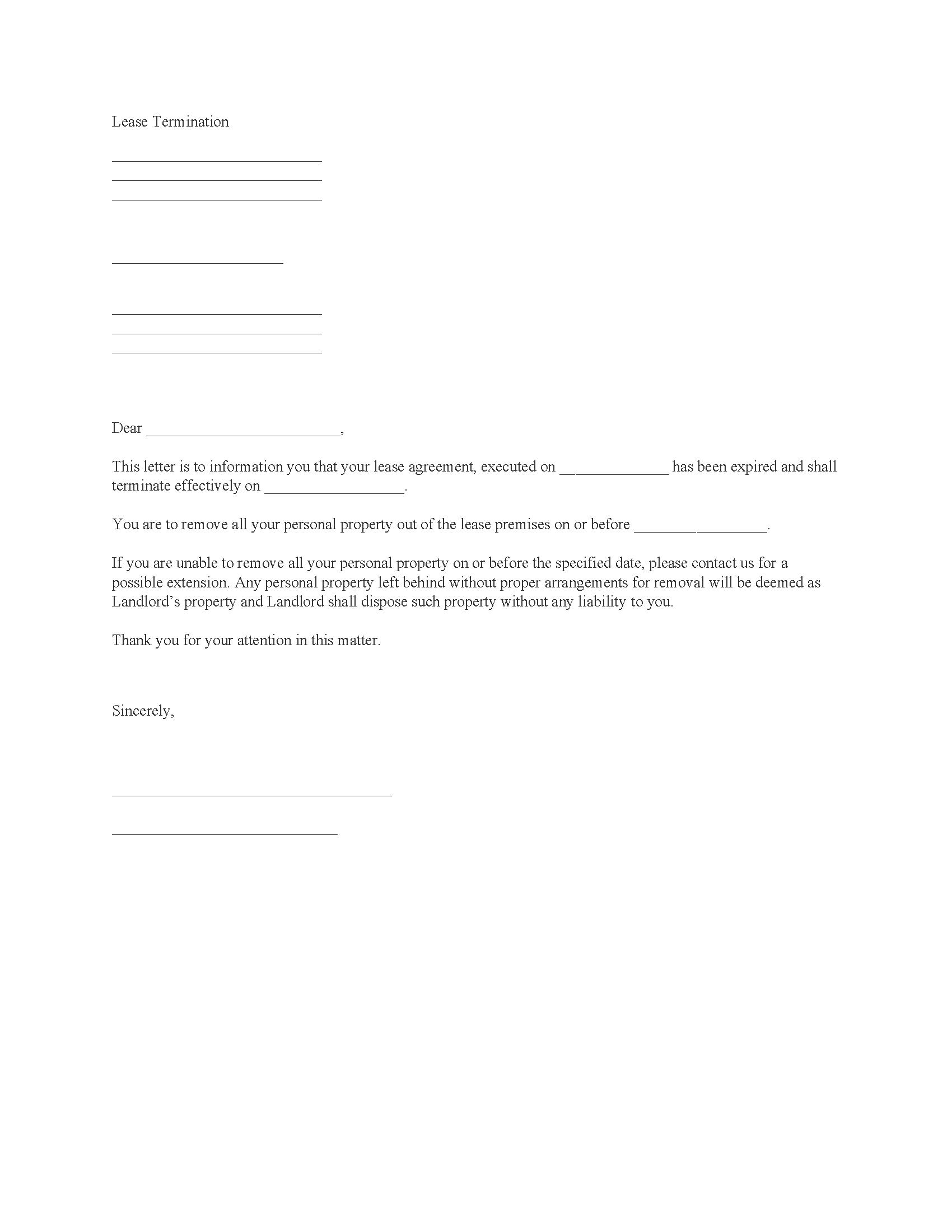 Lease Termination Notice Form