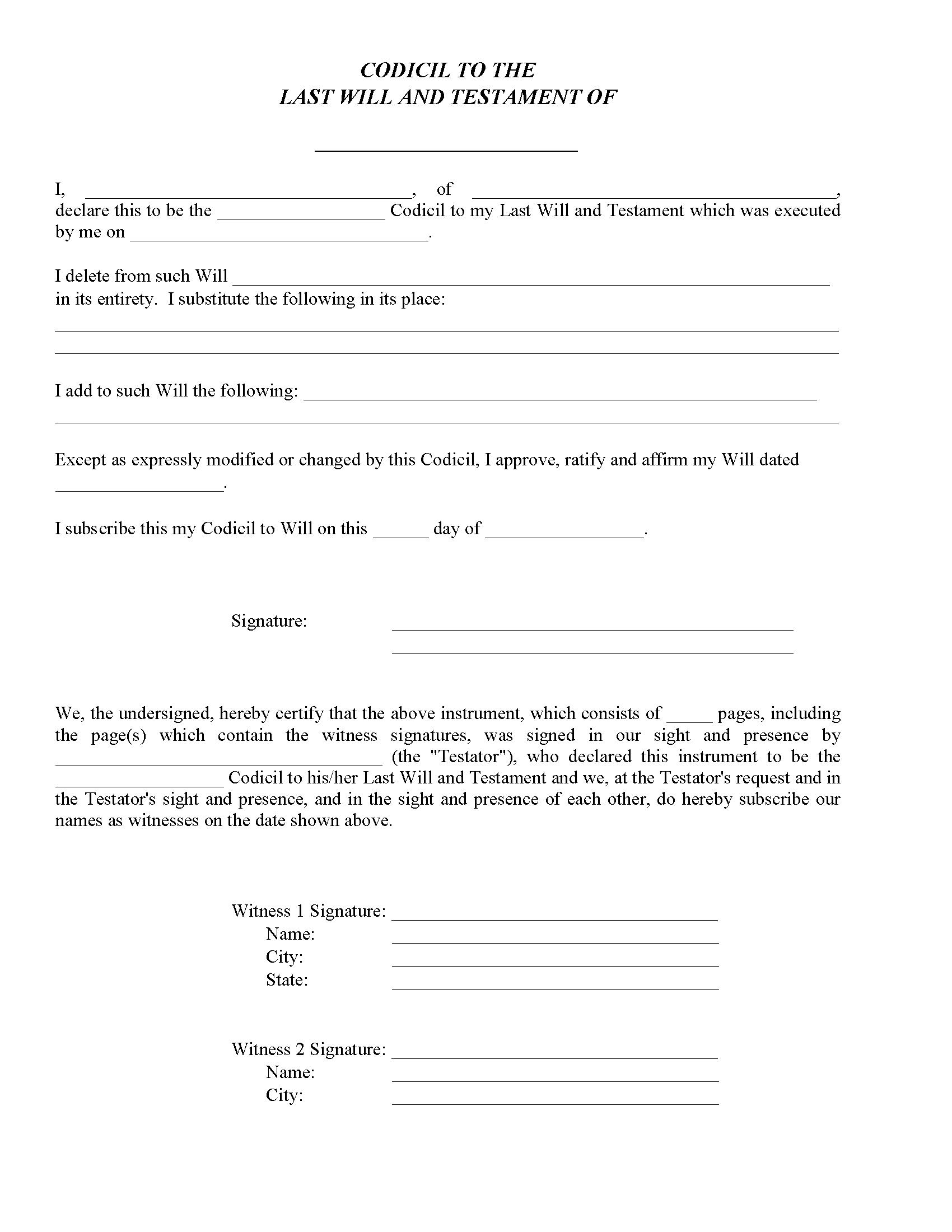 Massachusetts Codicil To Will Form
