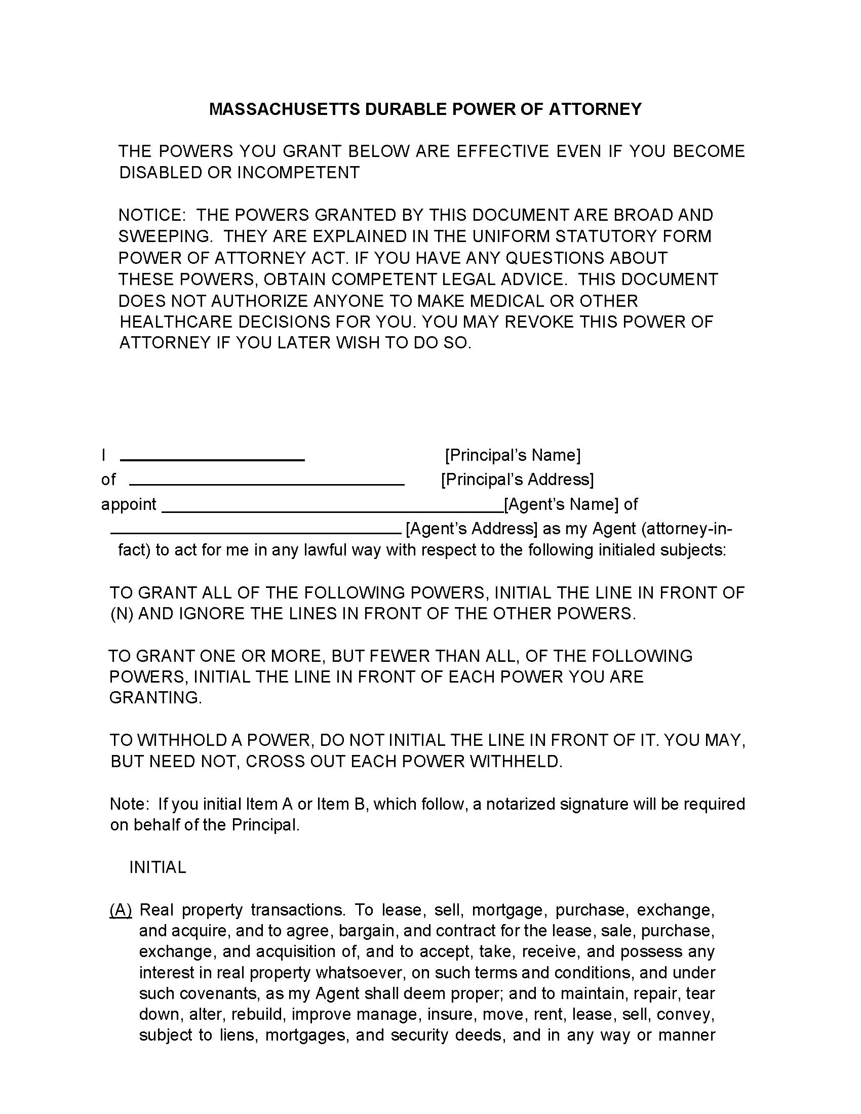 Massachusetts Financial Power of Attorney Form