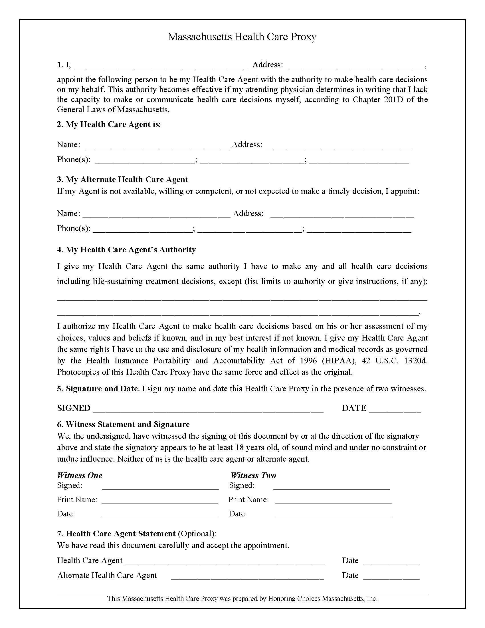Massachusetts Health Care Power of Attorney Form