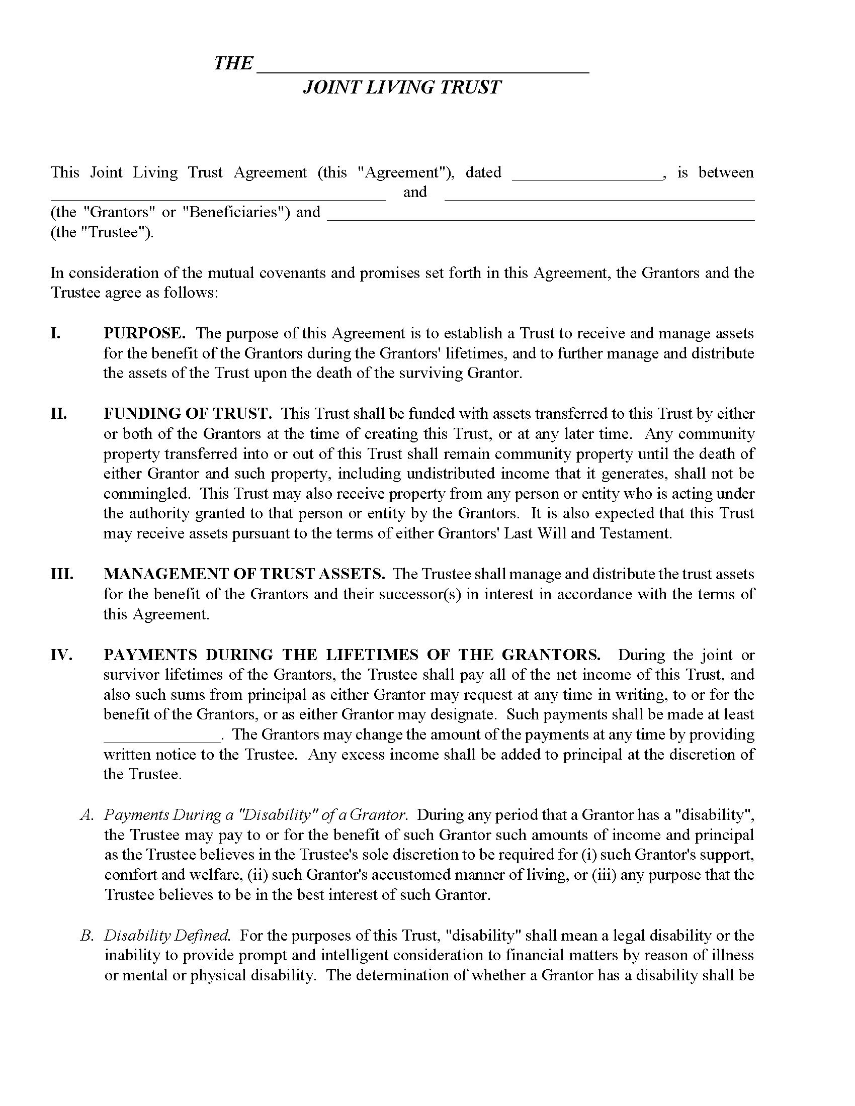 Massachusetts Joint Living Trust Form