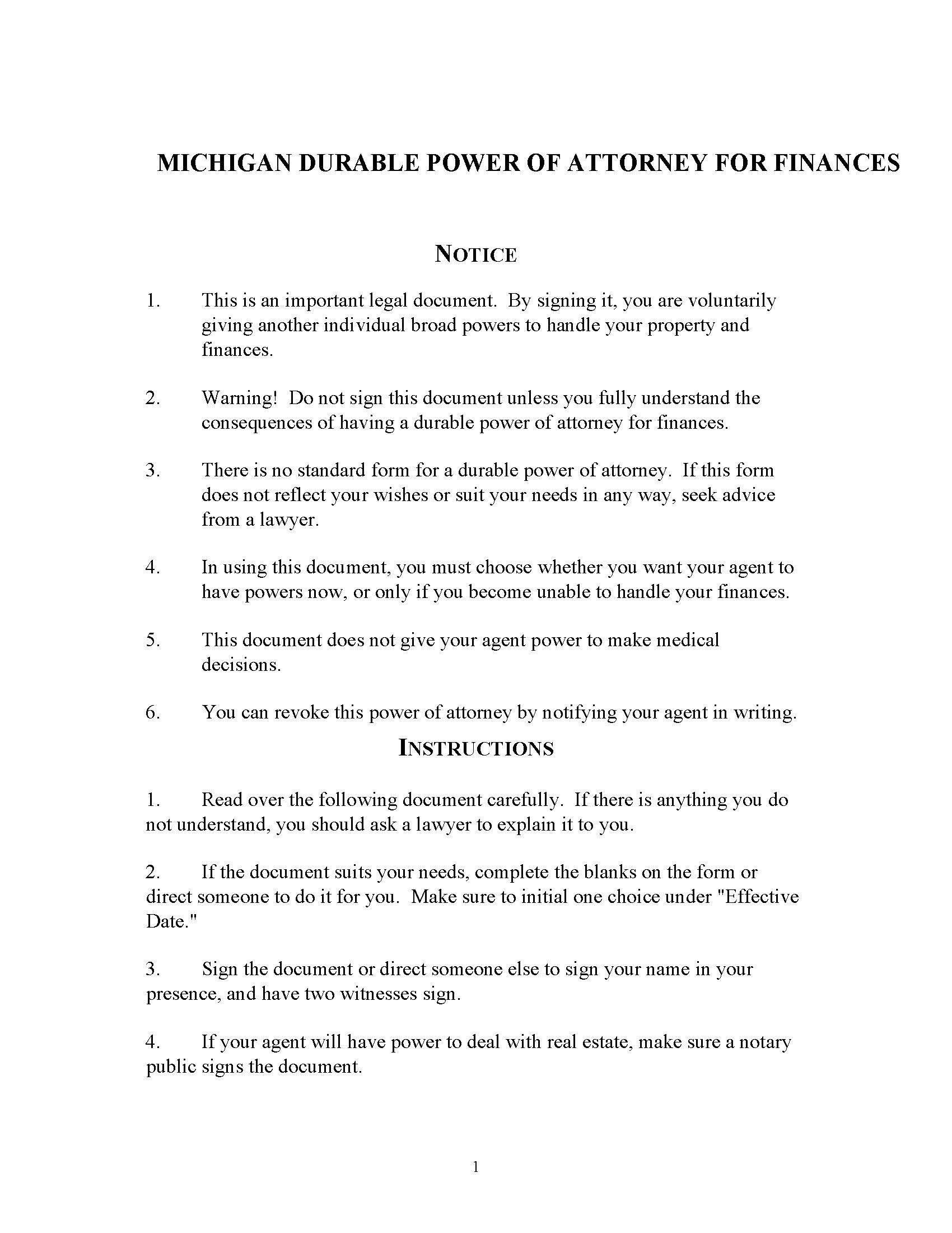 Michigan Financial Power of Attorney Form