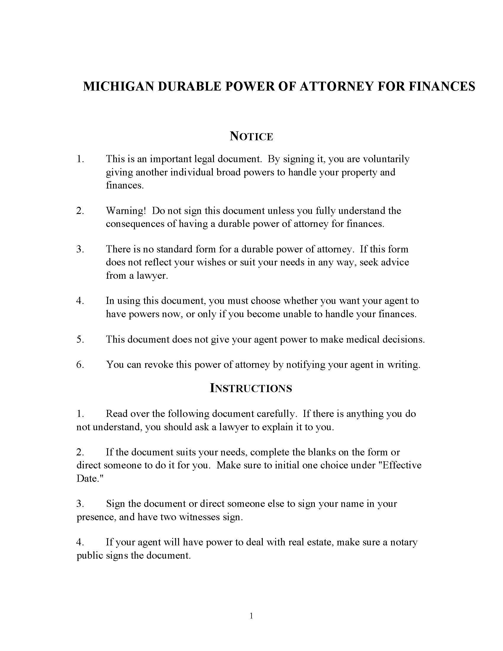 Michigan Power of Attorney Form Free Printable