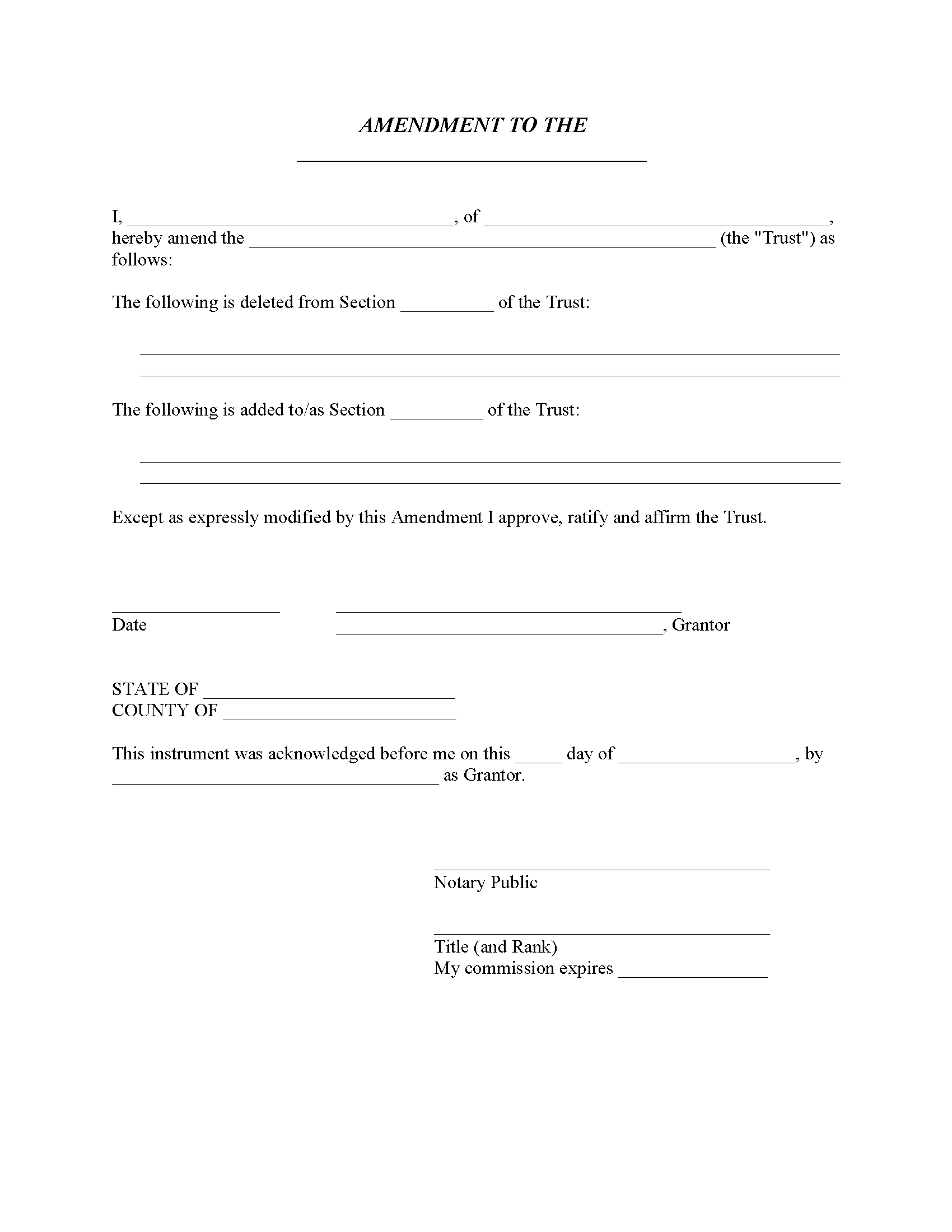 Missouri Amendment To Living Trust Trust Form
