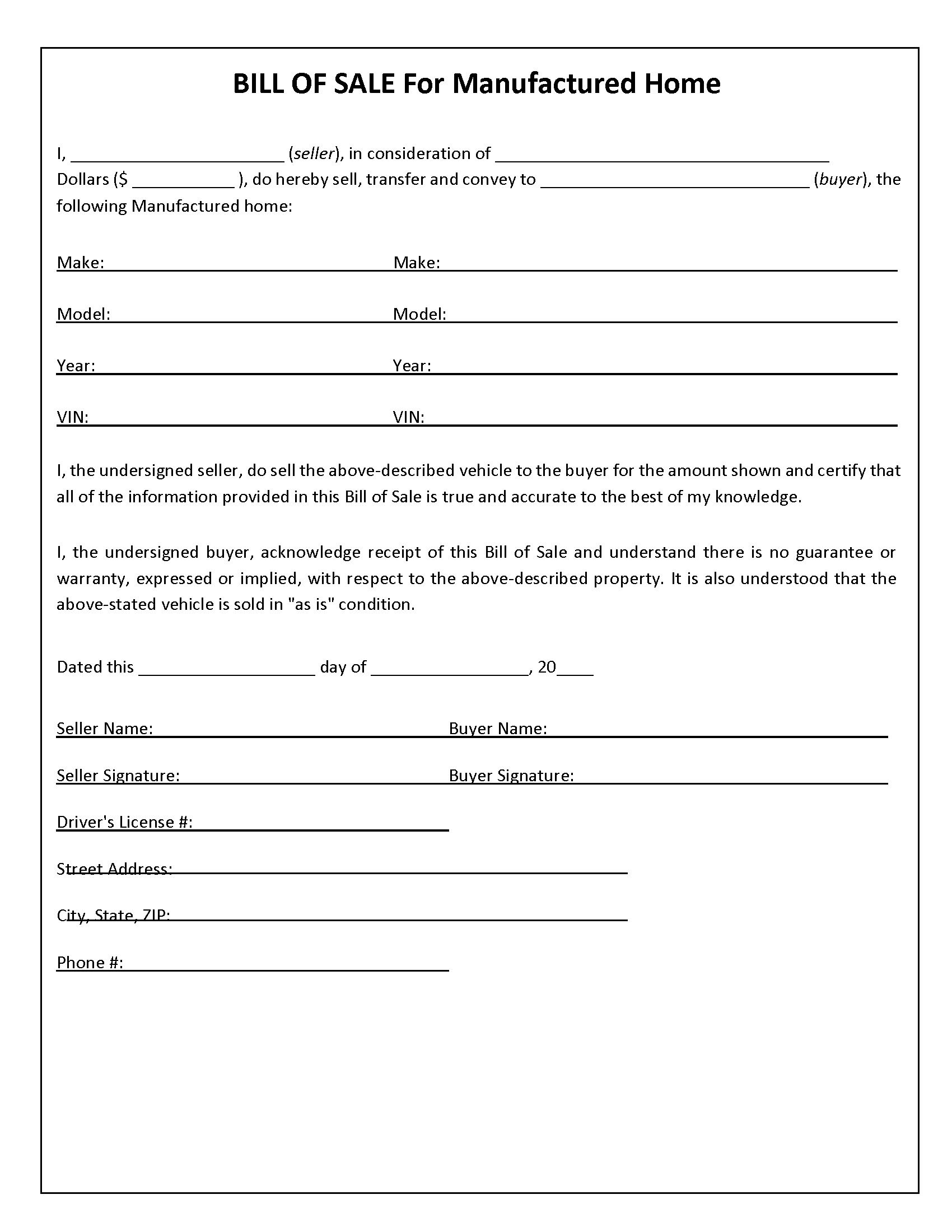 Mobile Home Bill of Sale Form