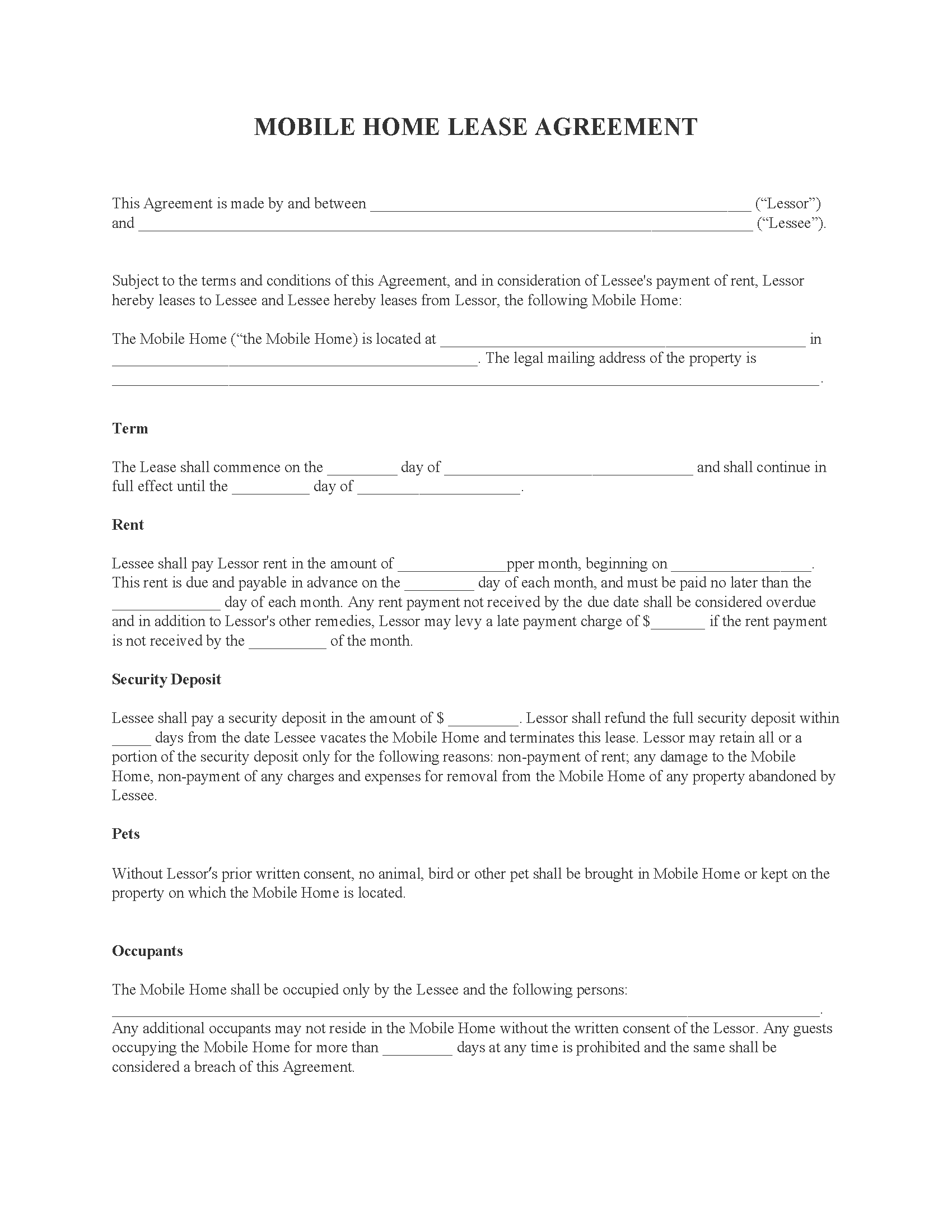 Mobile Home Lease Agreement Form