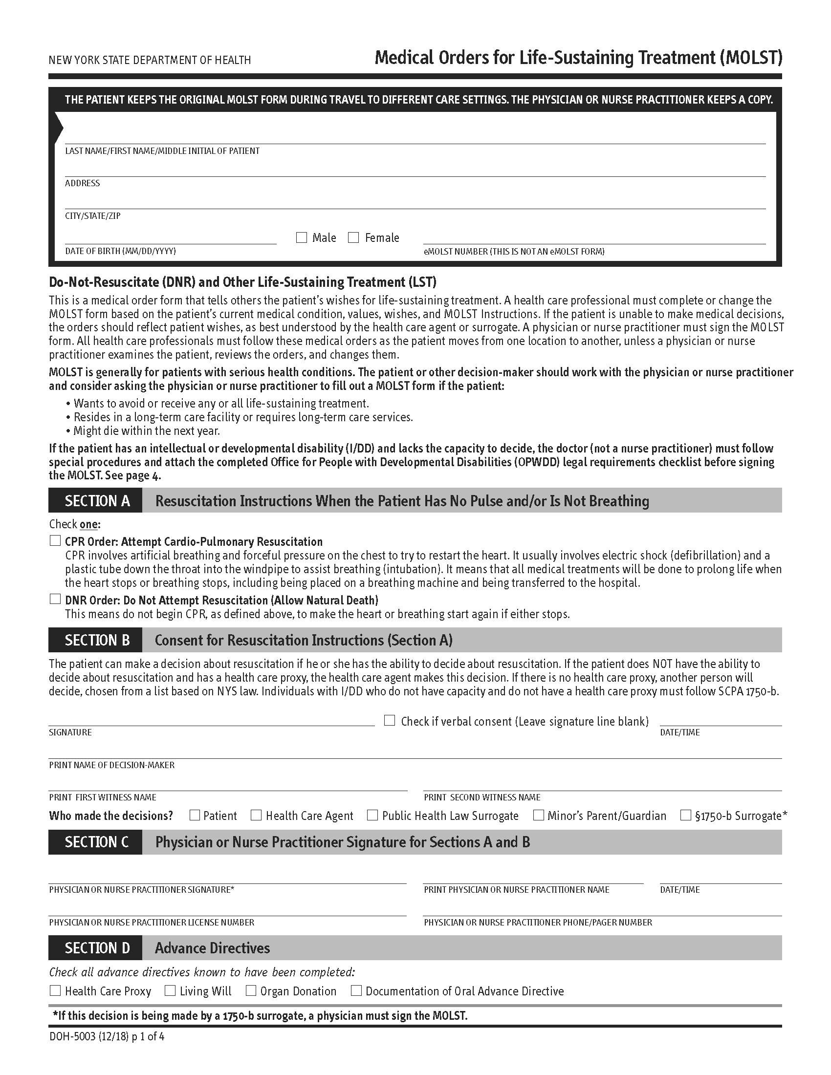 New York Advance Directive For Health Care