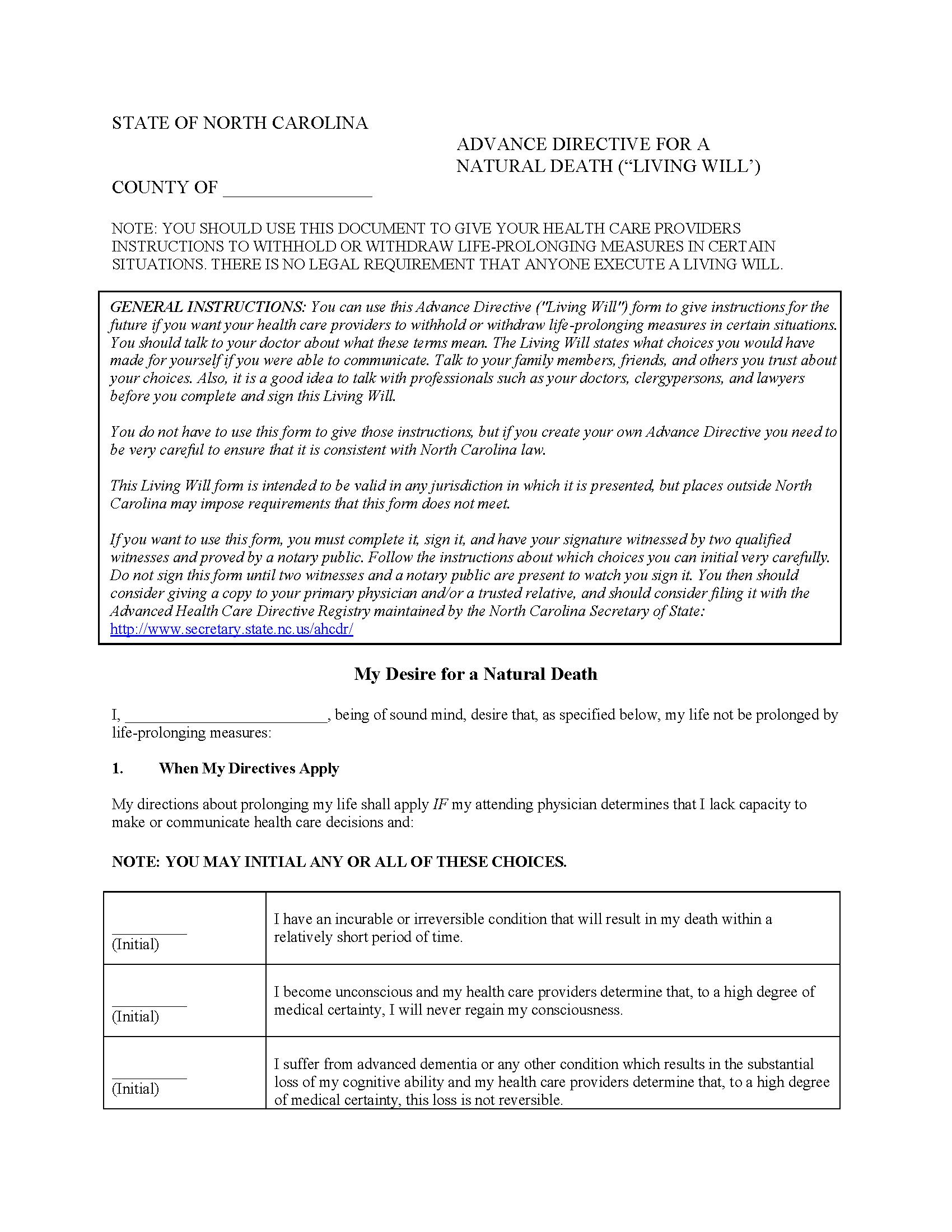 North Carolina Advance Directive For Health Care
