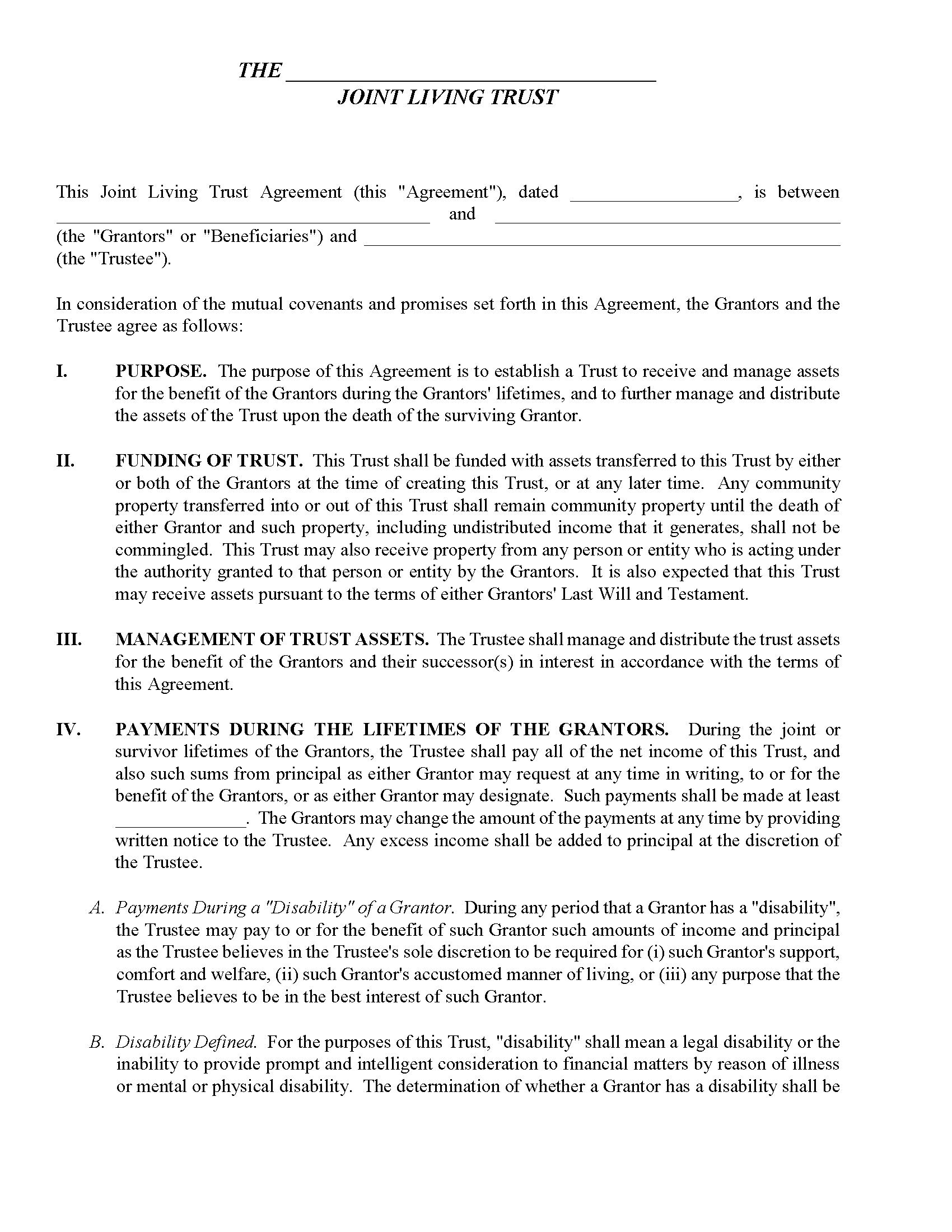 North Carolina Joint Living Trust Form