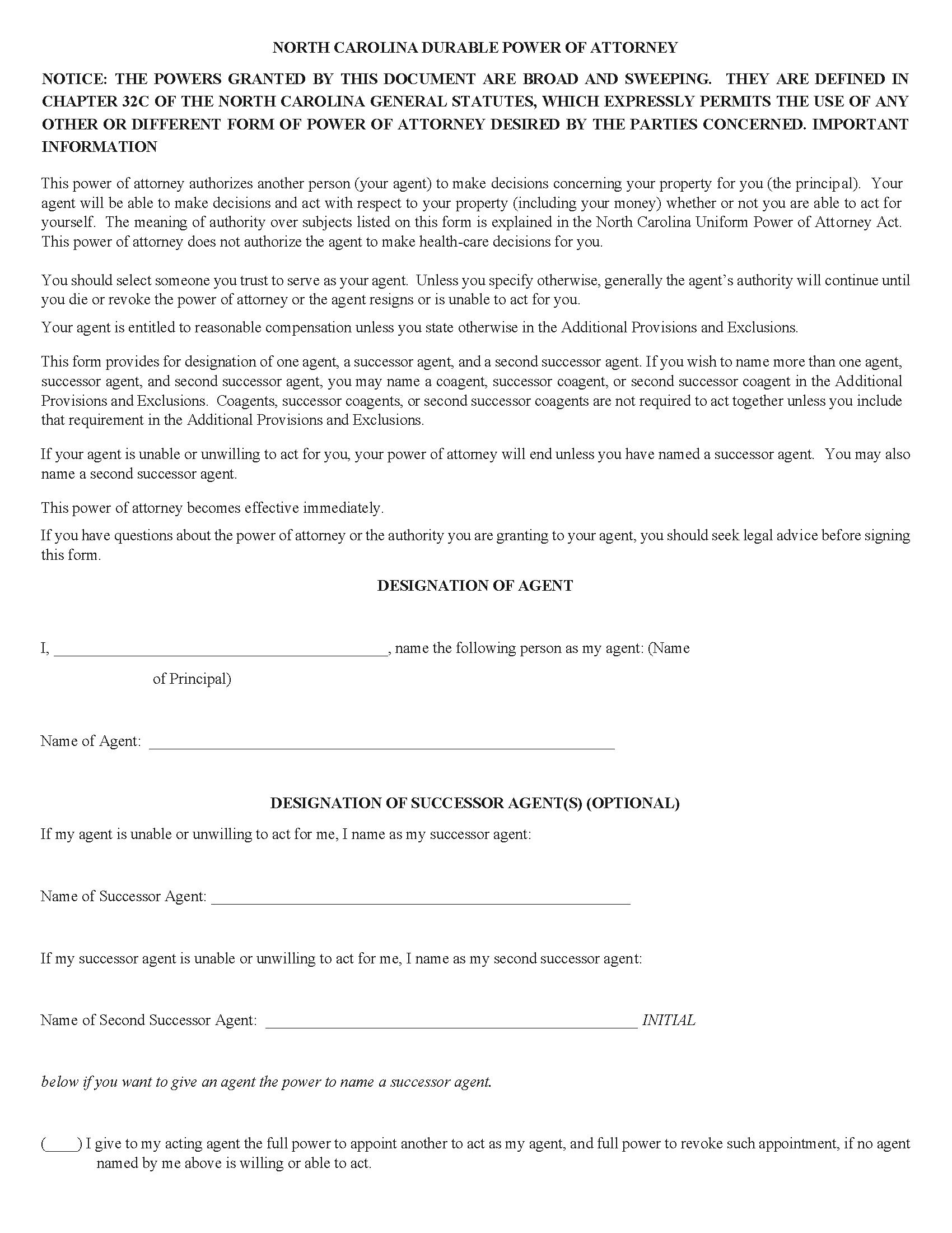 North Carolina Power of Attorney Form Free Printable