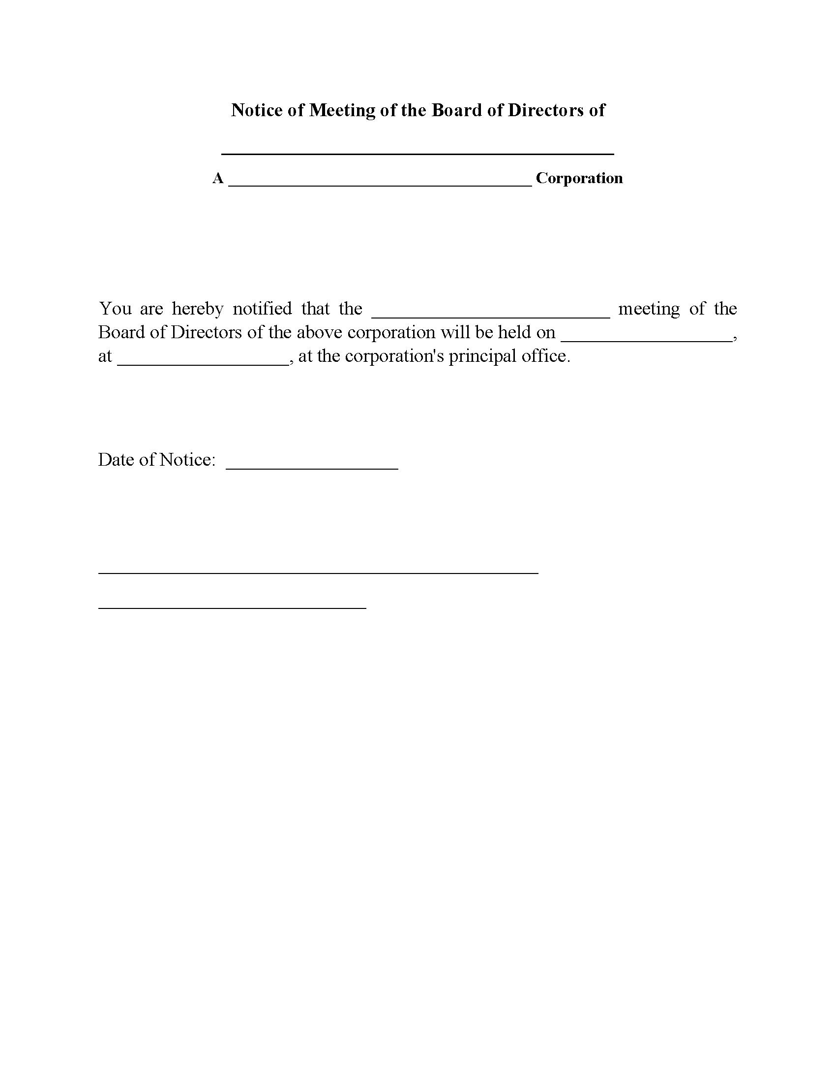 Notice of Meeting of Board of Directors