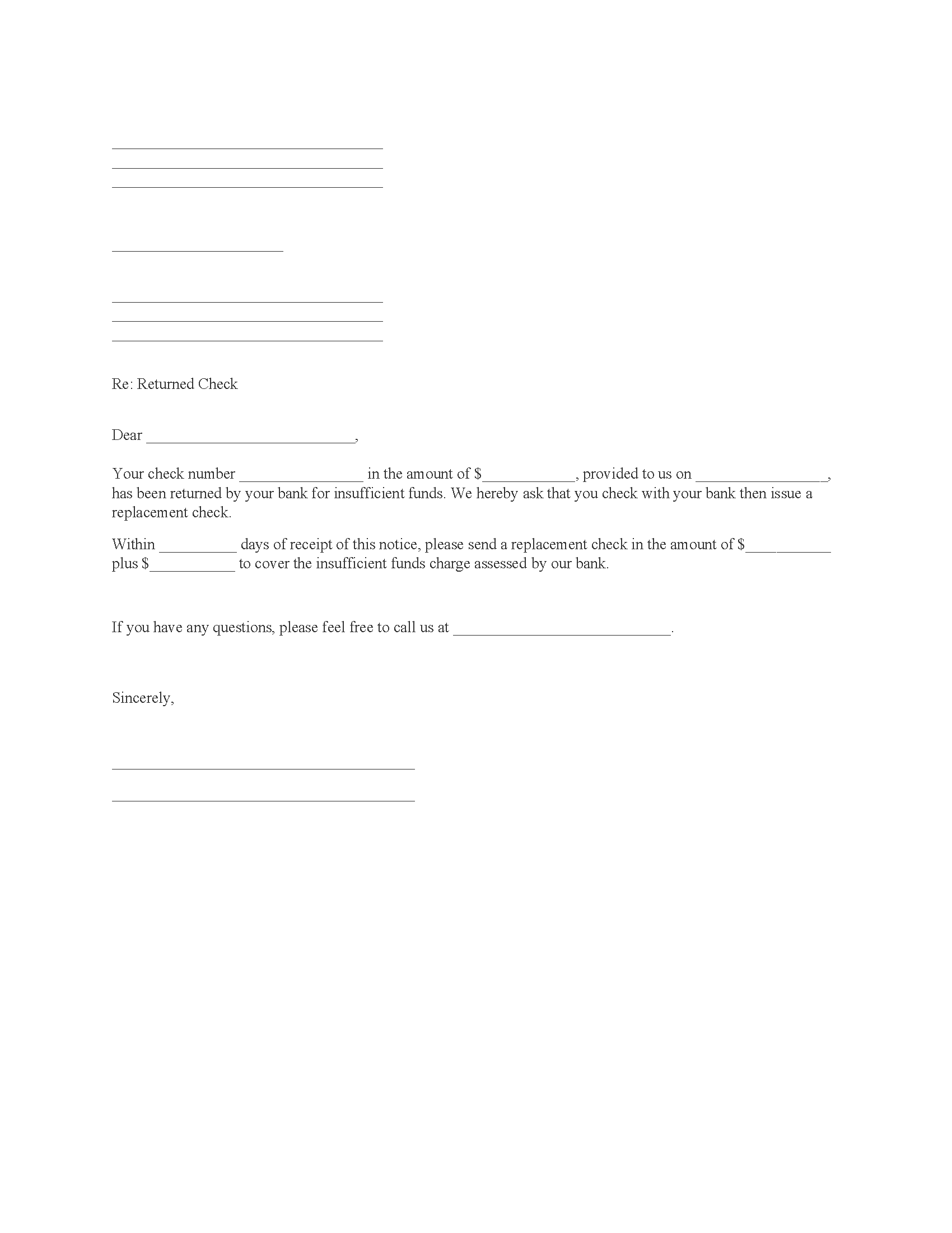 Notice of Returned Check