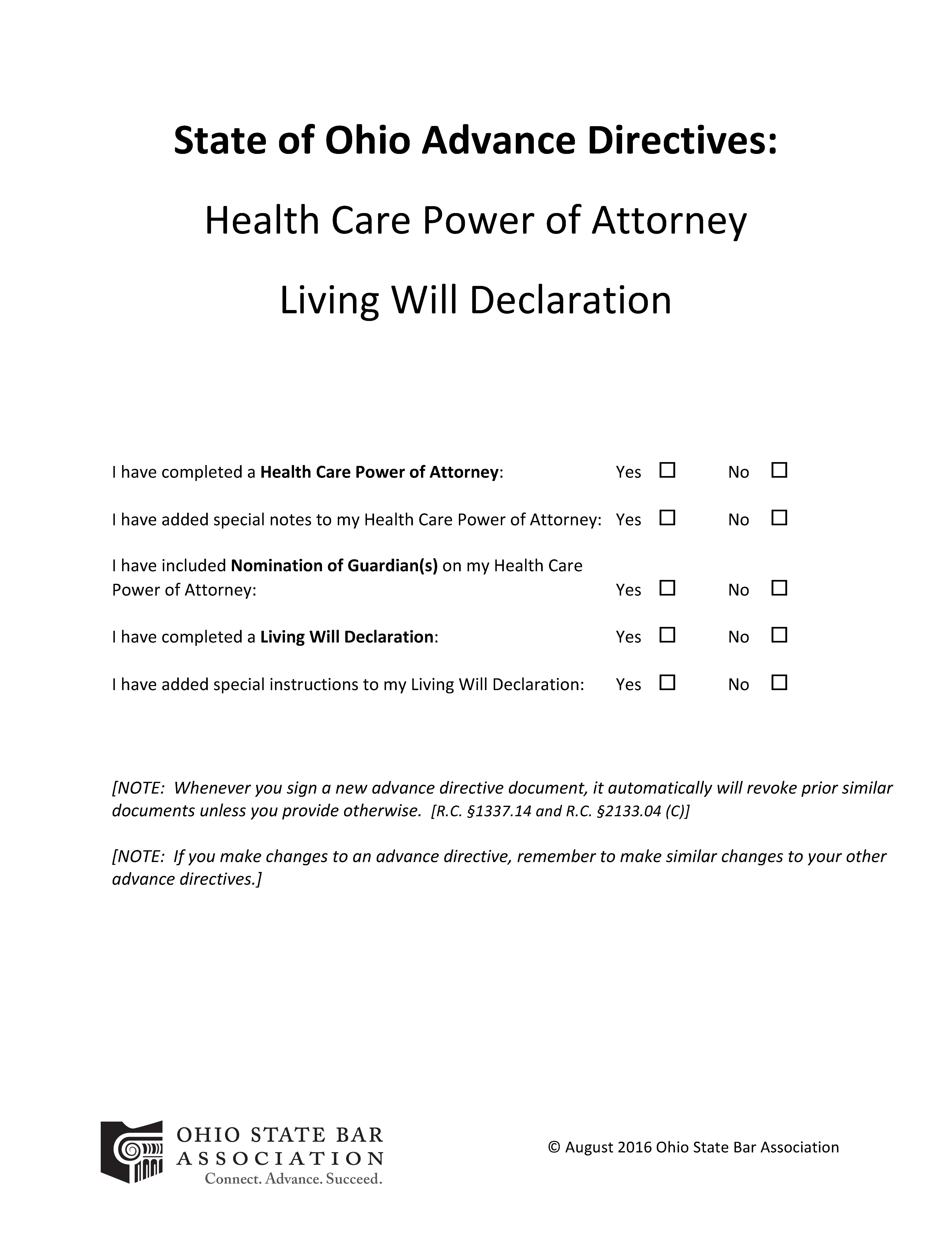 Ohio Advance Directive For Health Care