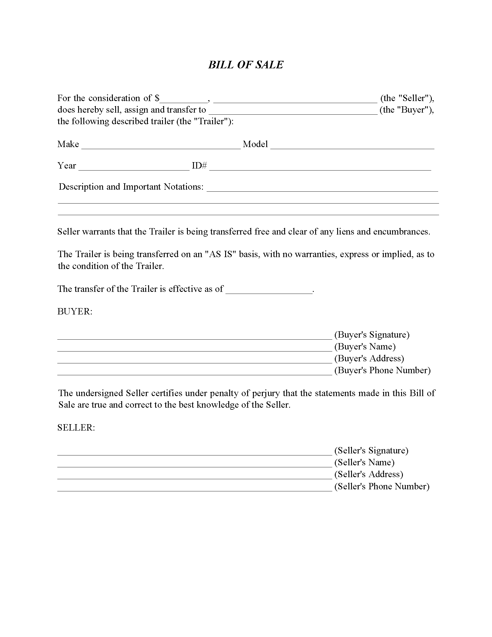 Oklahoma Trailer Bill Of Sale Form Free Printable Legal Forms