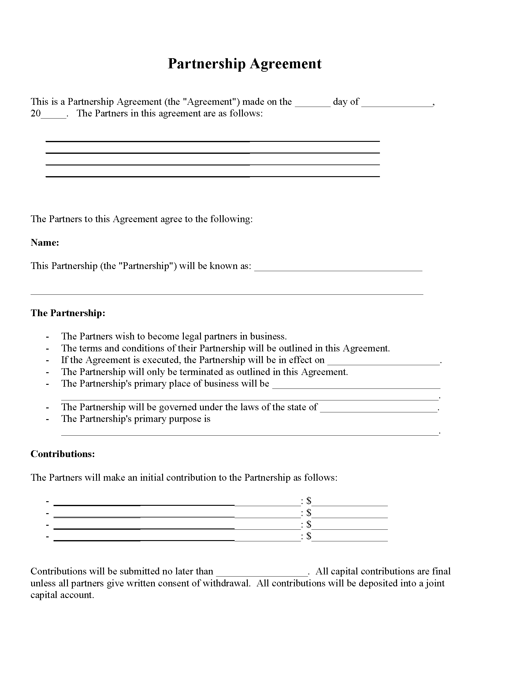 Partnership Agreement Forms