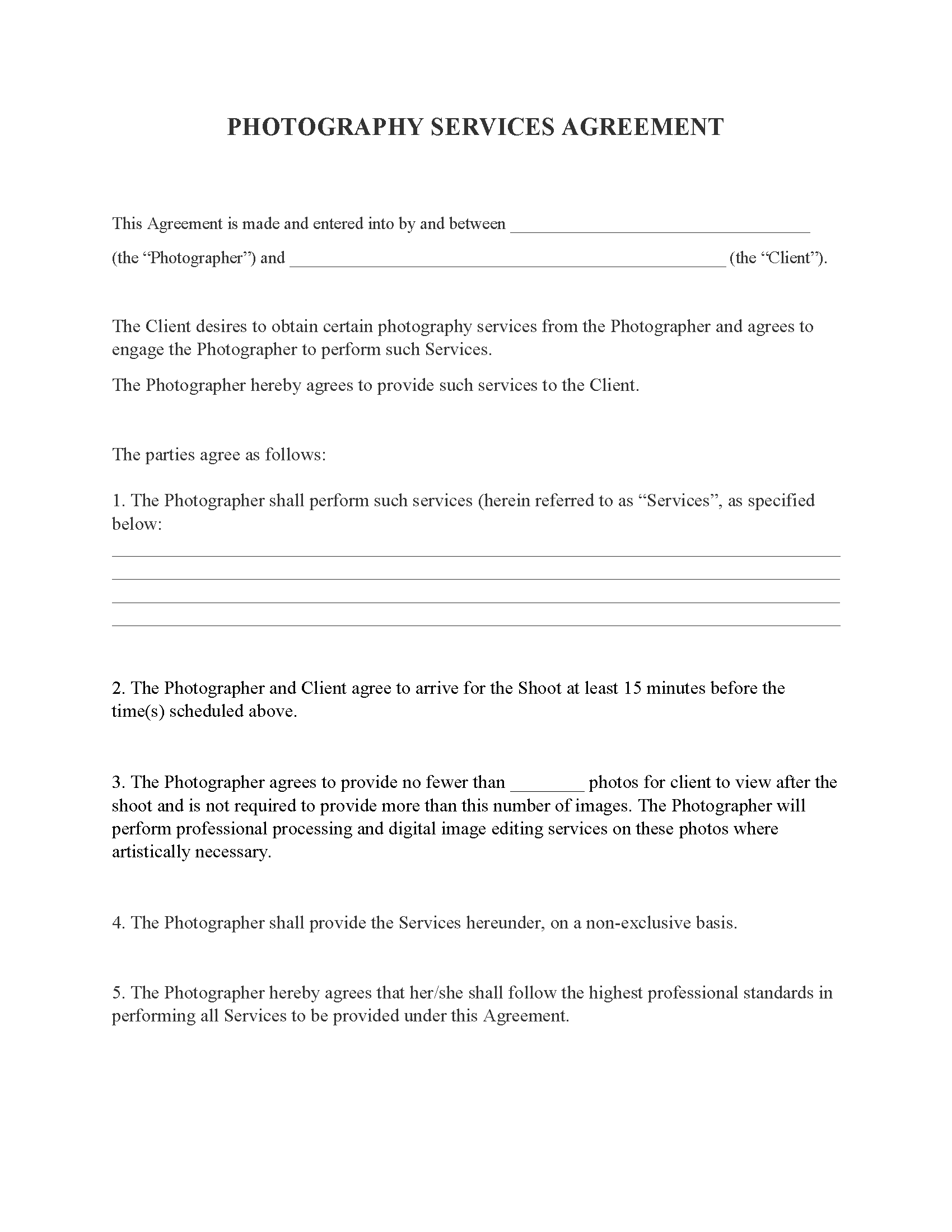 Photography Services Agreement Contract