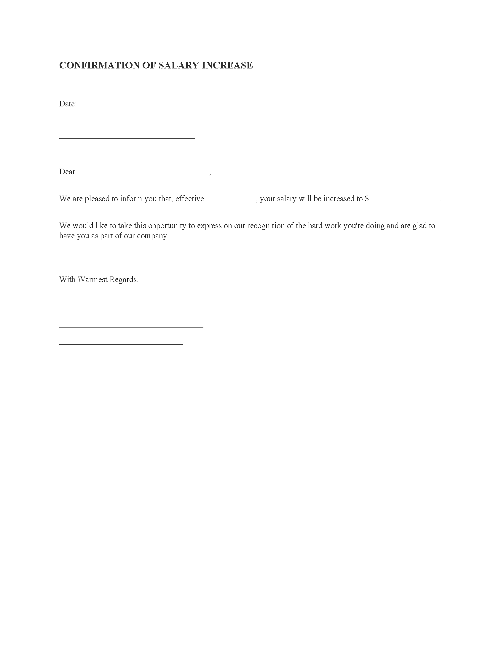 Raise Confirmation Letter
