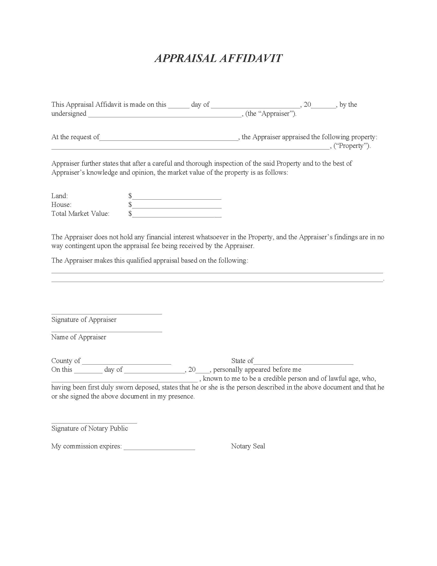 Real Estate Appraisal Affidavit