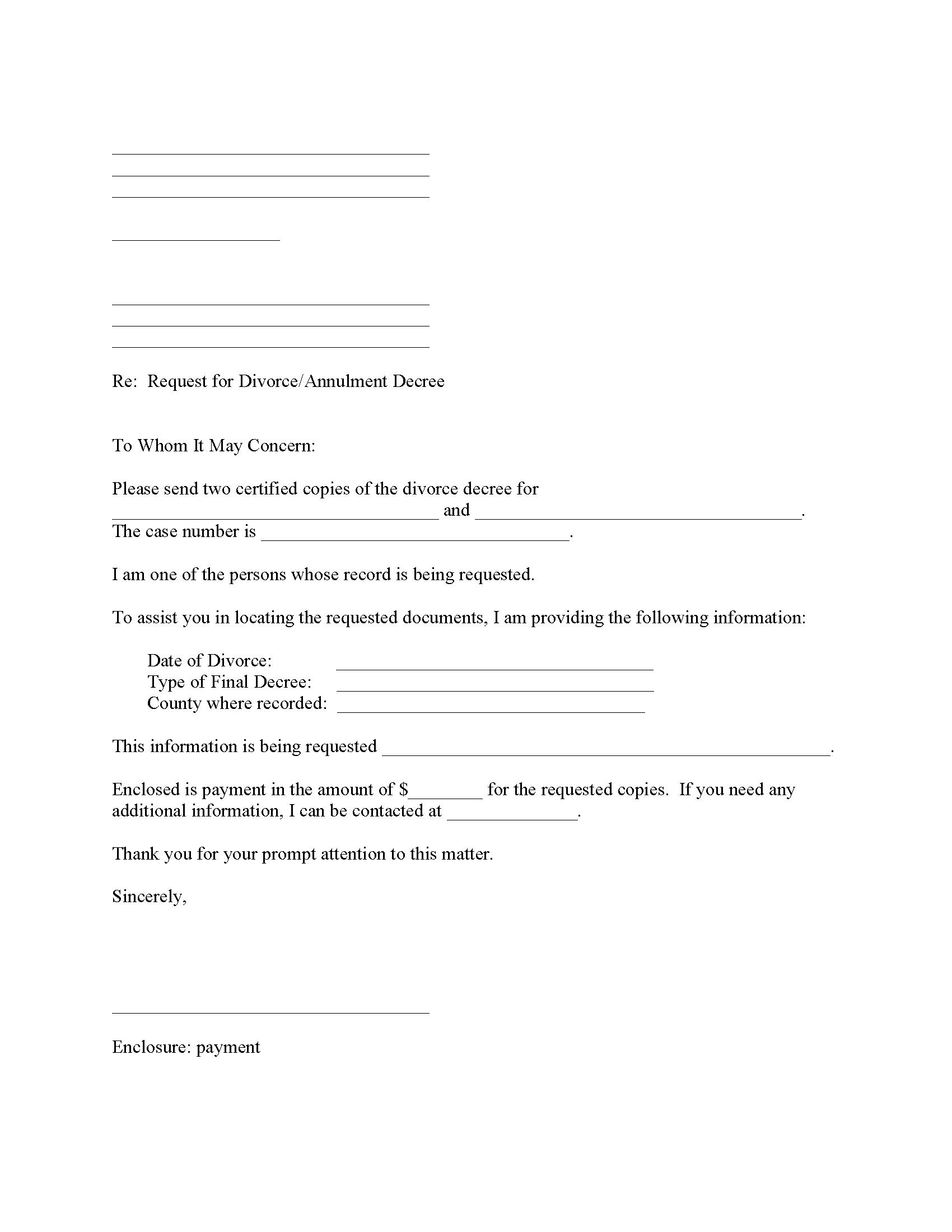 Request Copy of Divorce