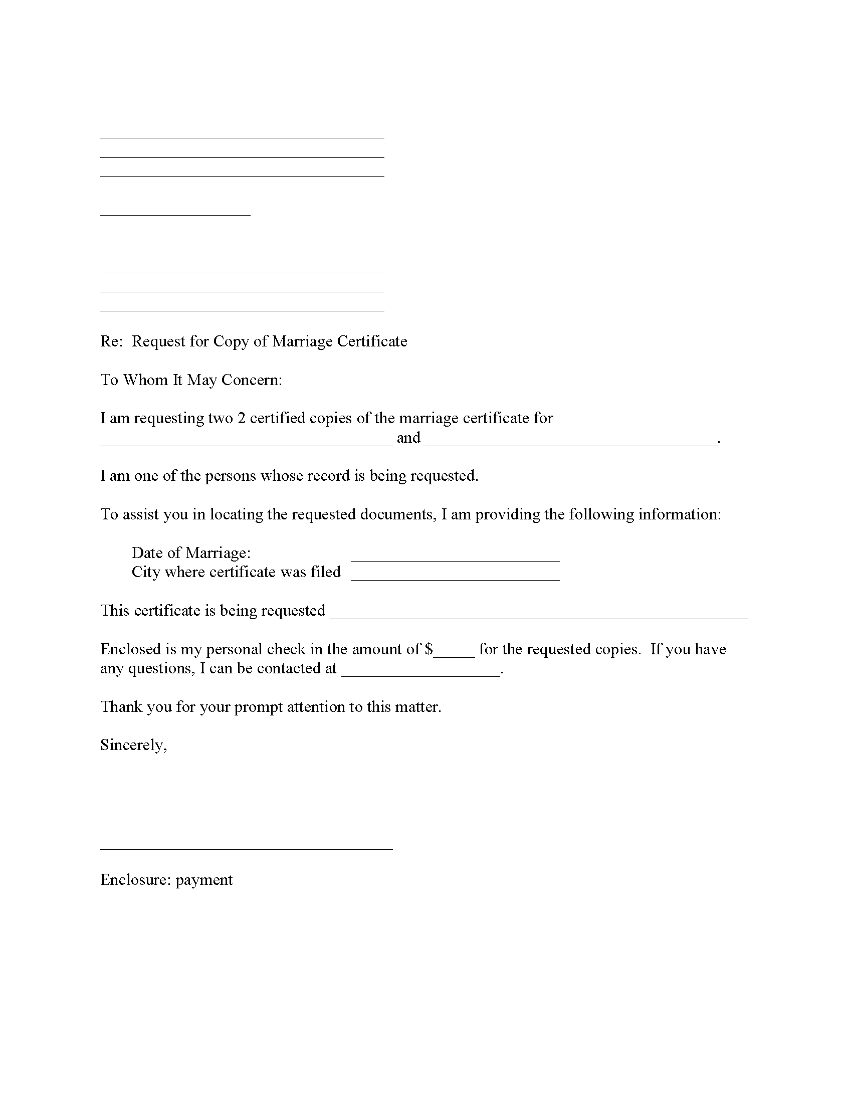 Request Copy of Marriage License