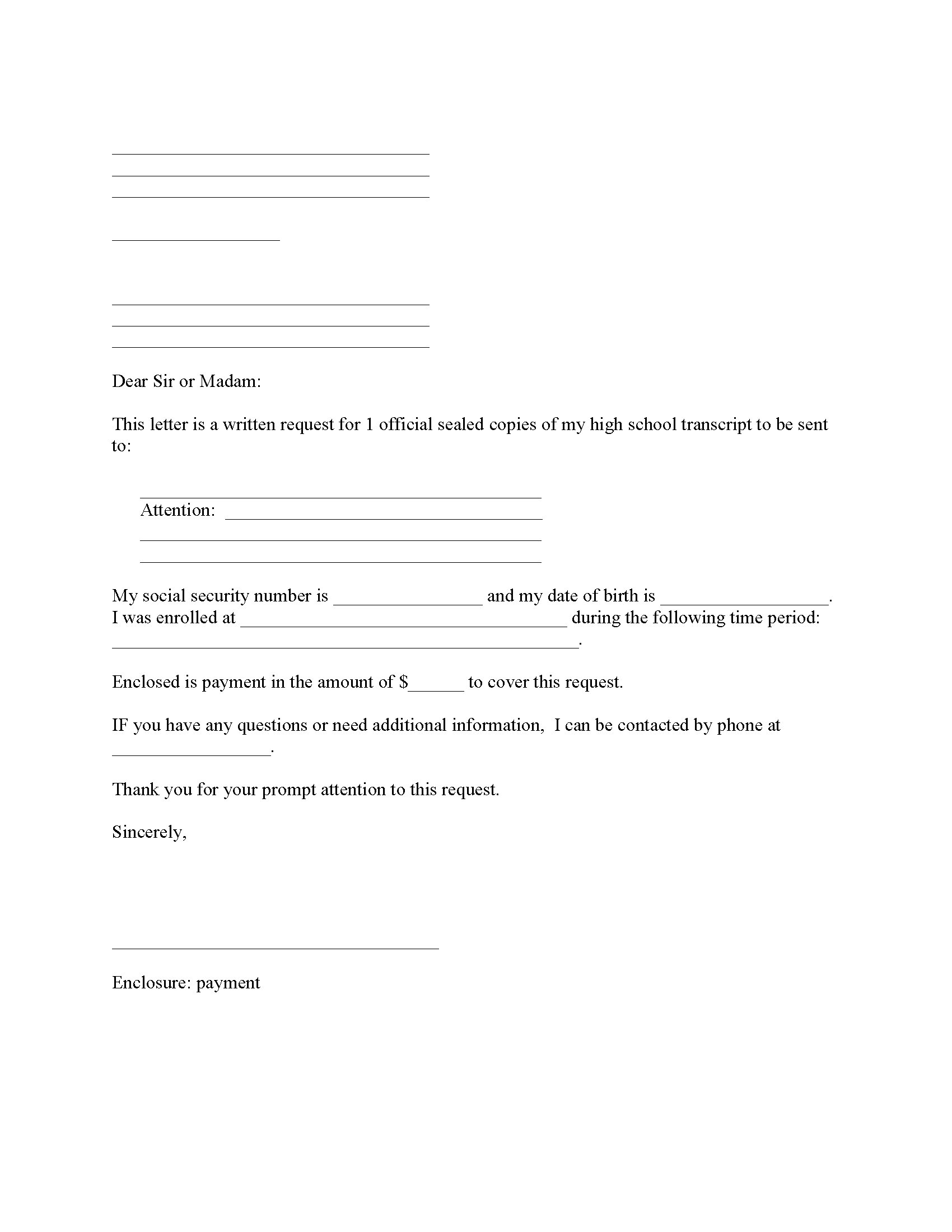 Request Copy of High School Transcripts