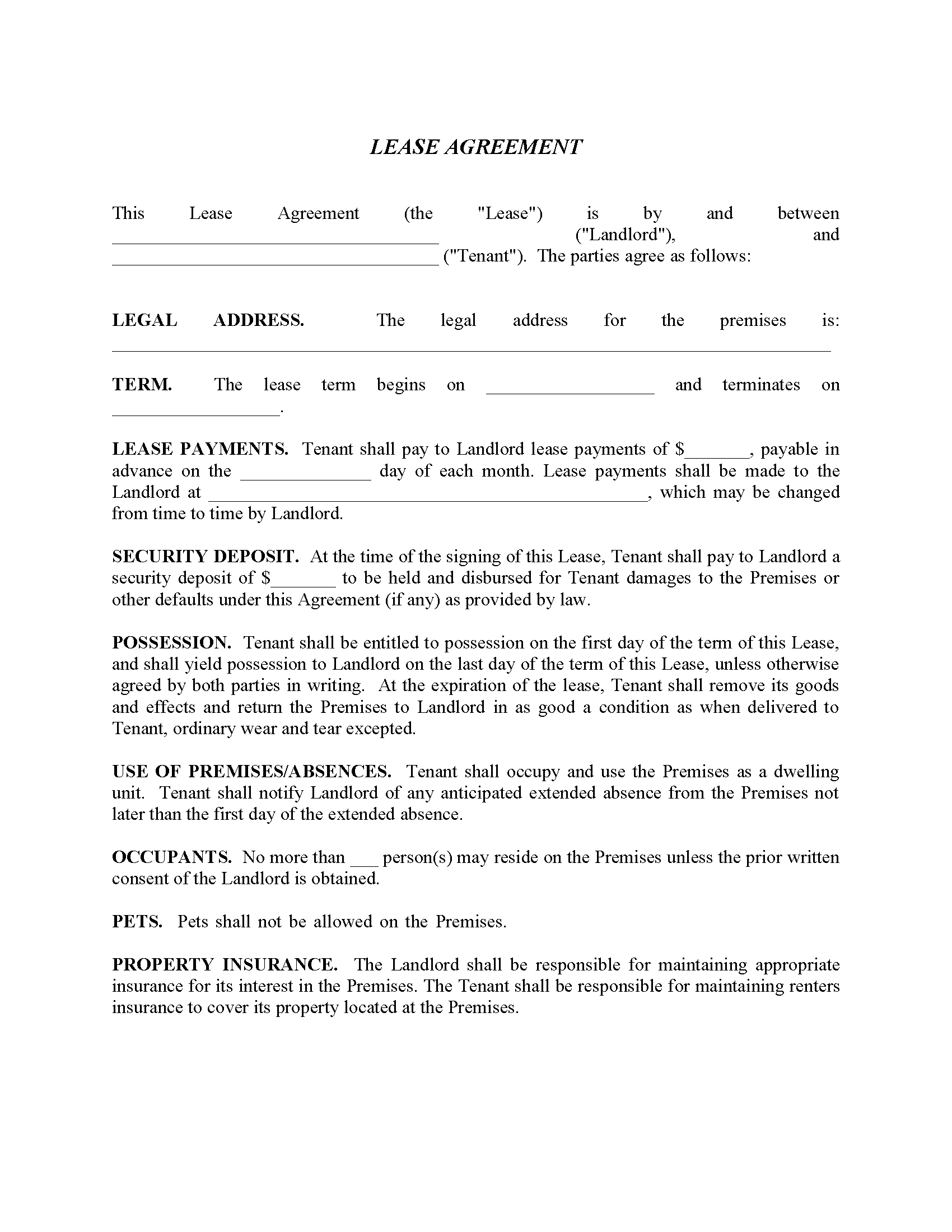Residential Lease Agreement Form - No Pets
