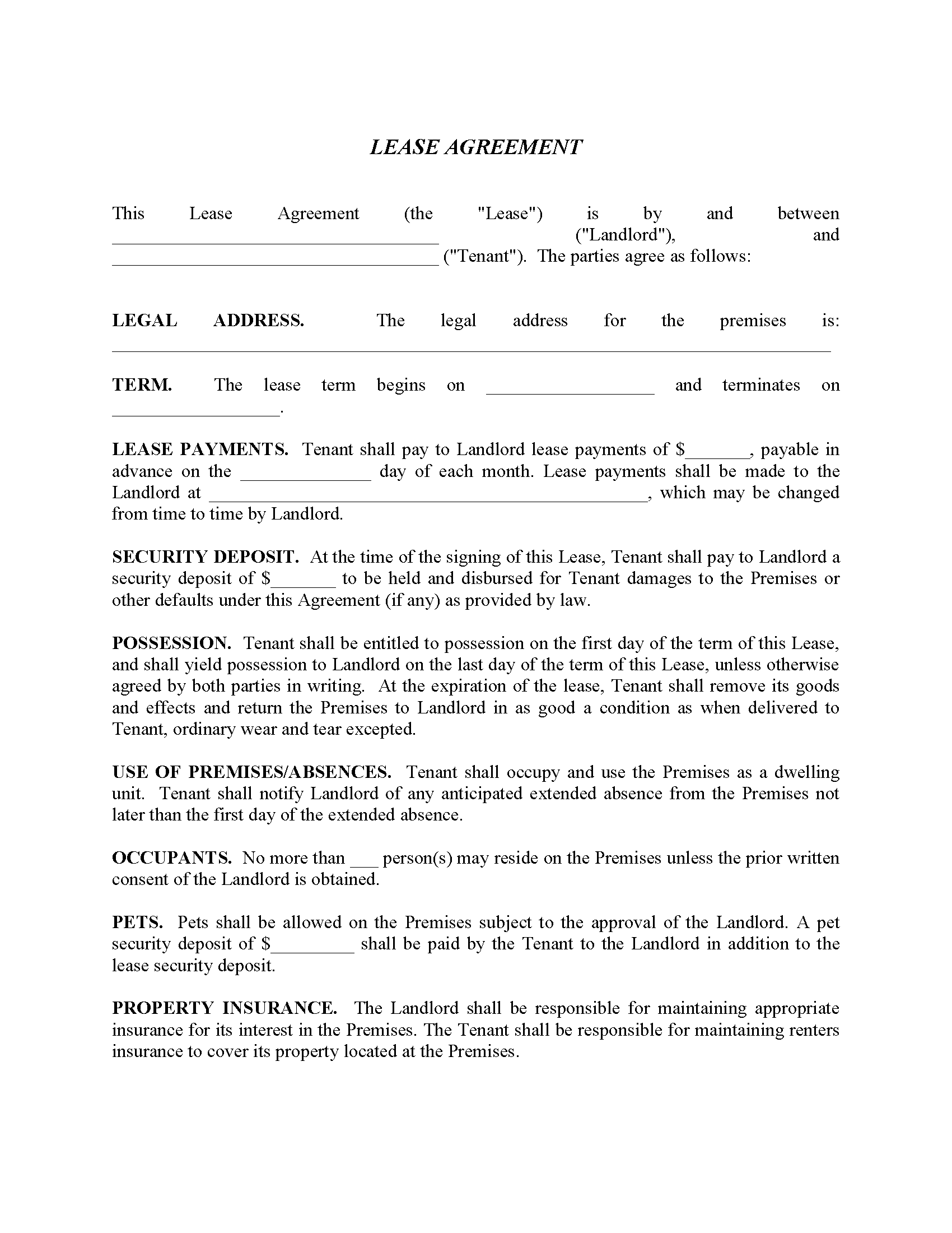 Residential Lease Agreement Form - Pets Allowed