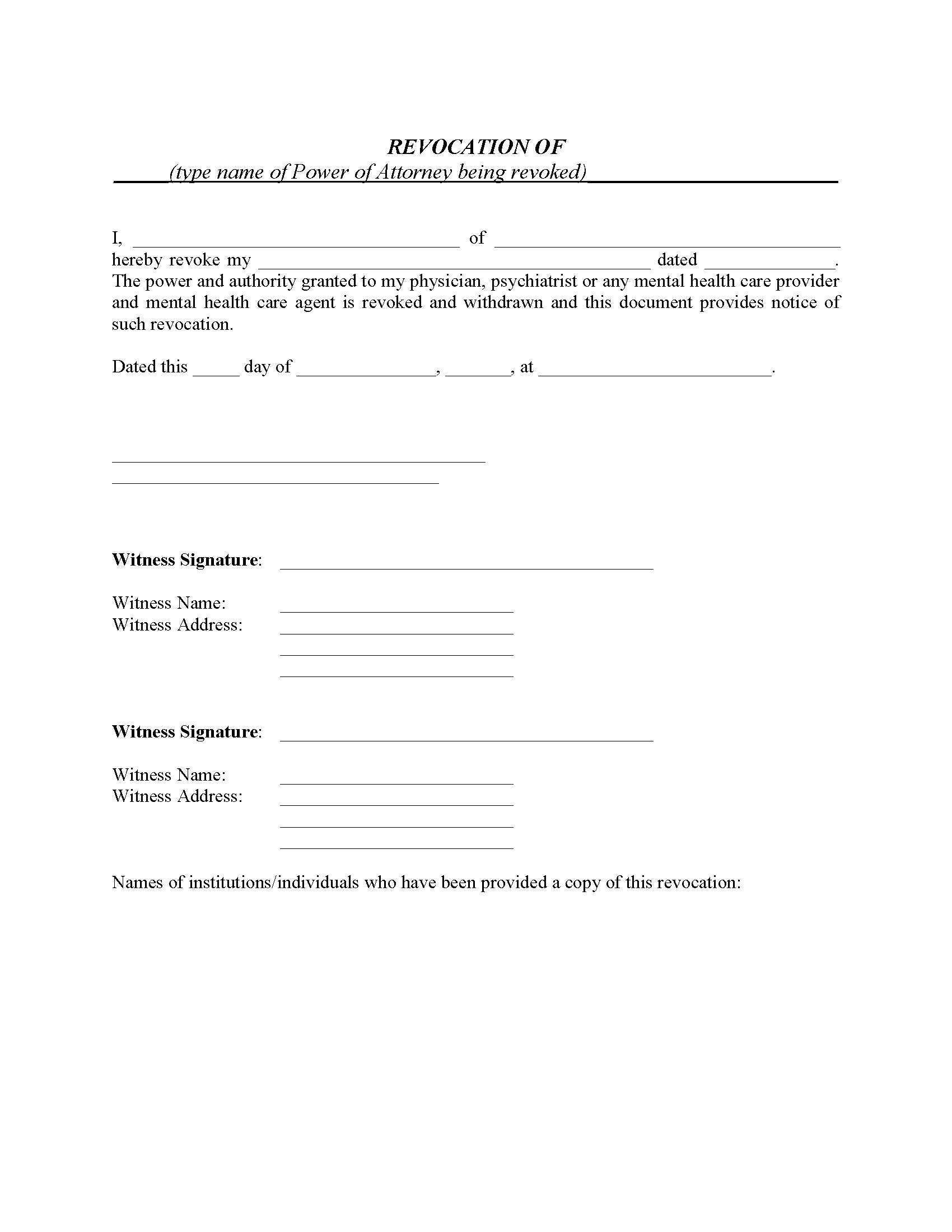 Revocation of Mental Health Power of Attorney Form