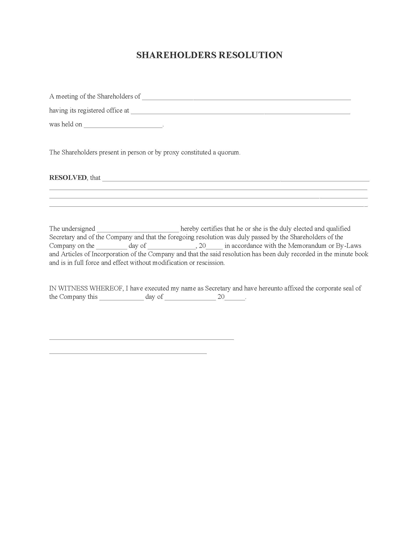 Shareholders Resolution Form
