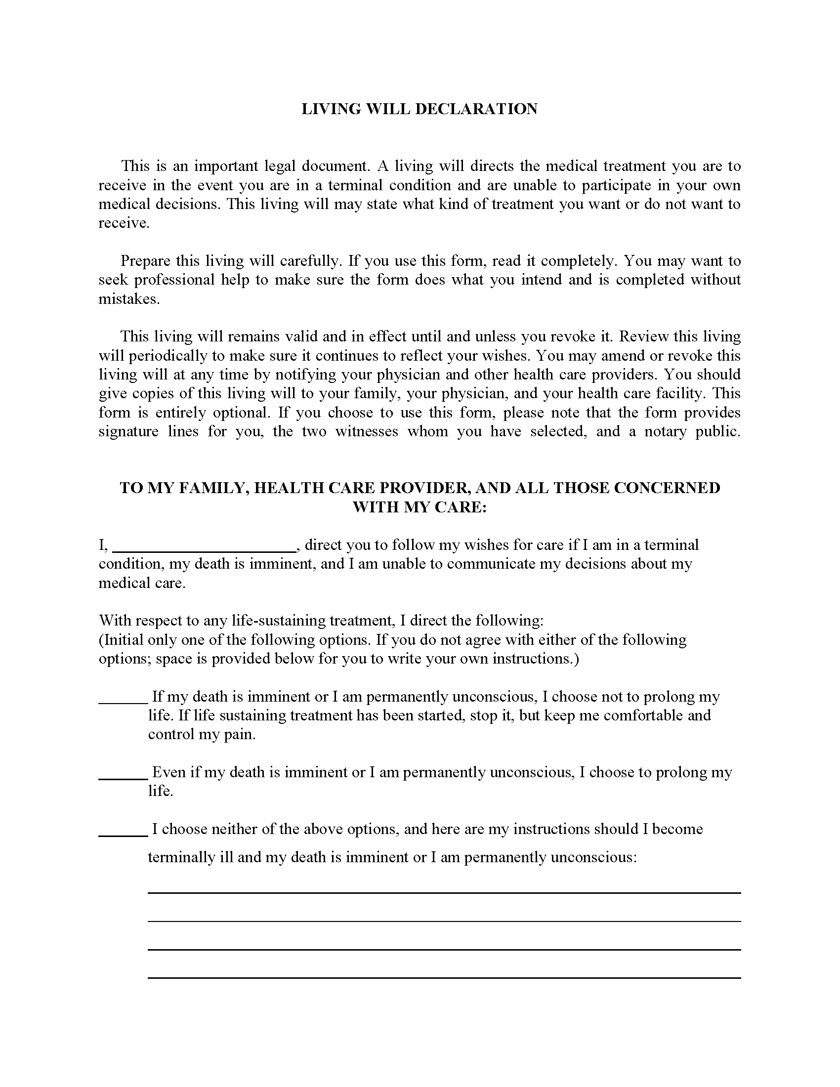 South Dakota Advance Directive For Health Care