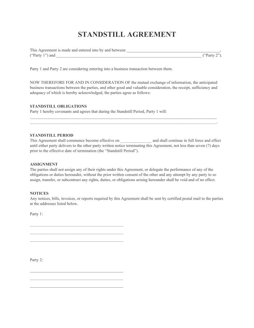 Standstill Agreement