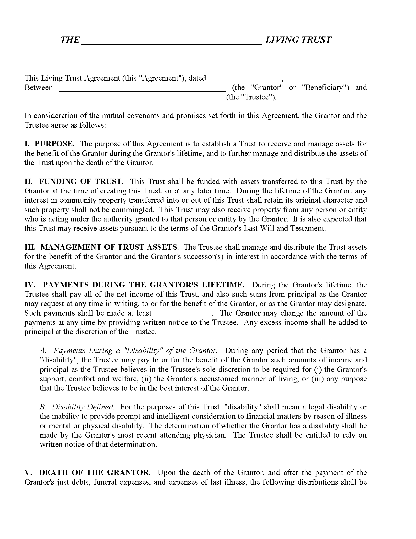 Texas Declaration of Trust Form