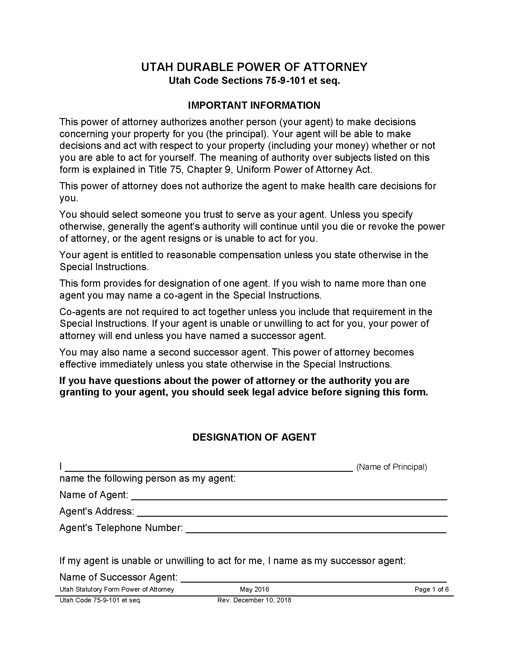 Utah Financial Power of Attorney Form