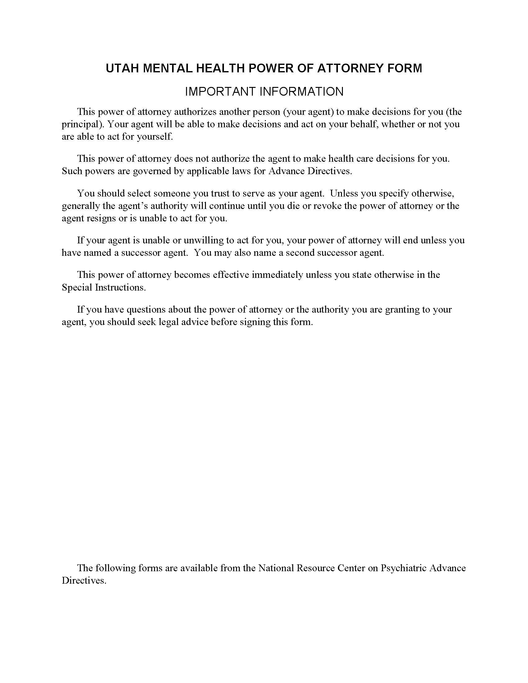 Utah Mental Health Power of Attorney