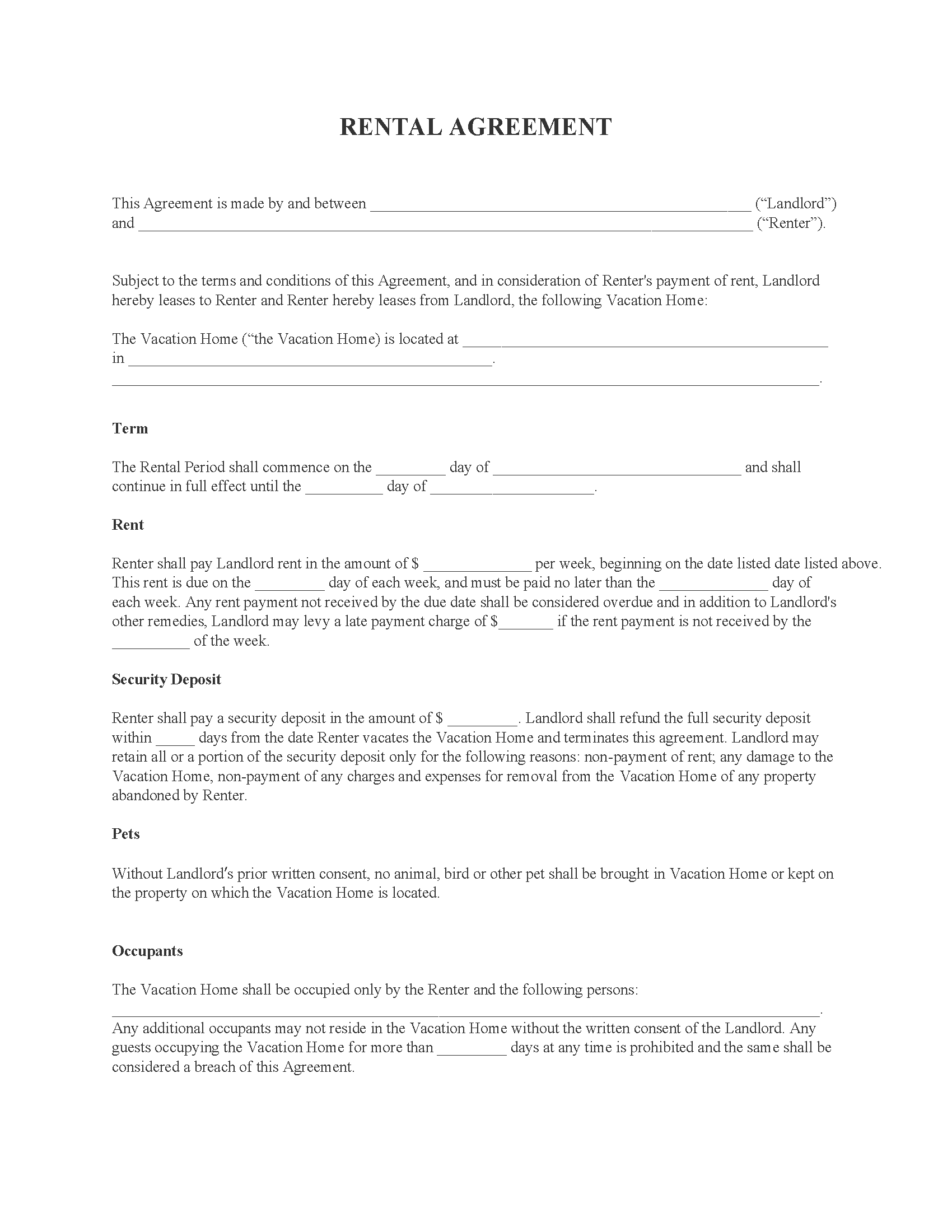 Vacation Home Rental Agreement