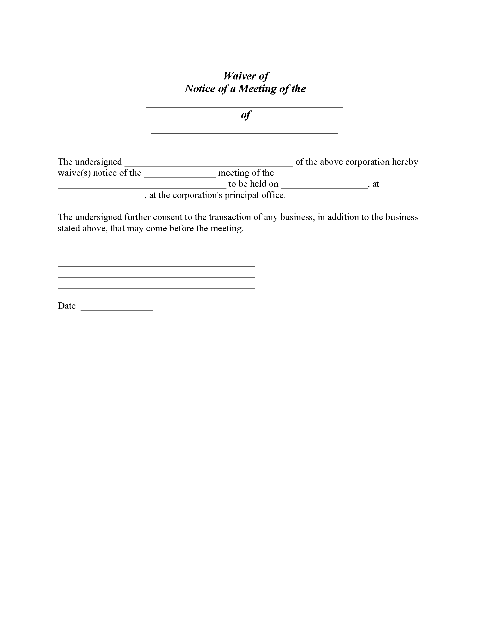 Waiver of Notice of Corporate Meeting Form