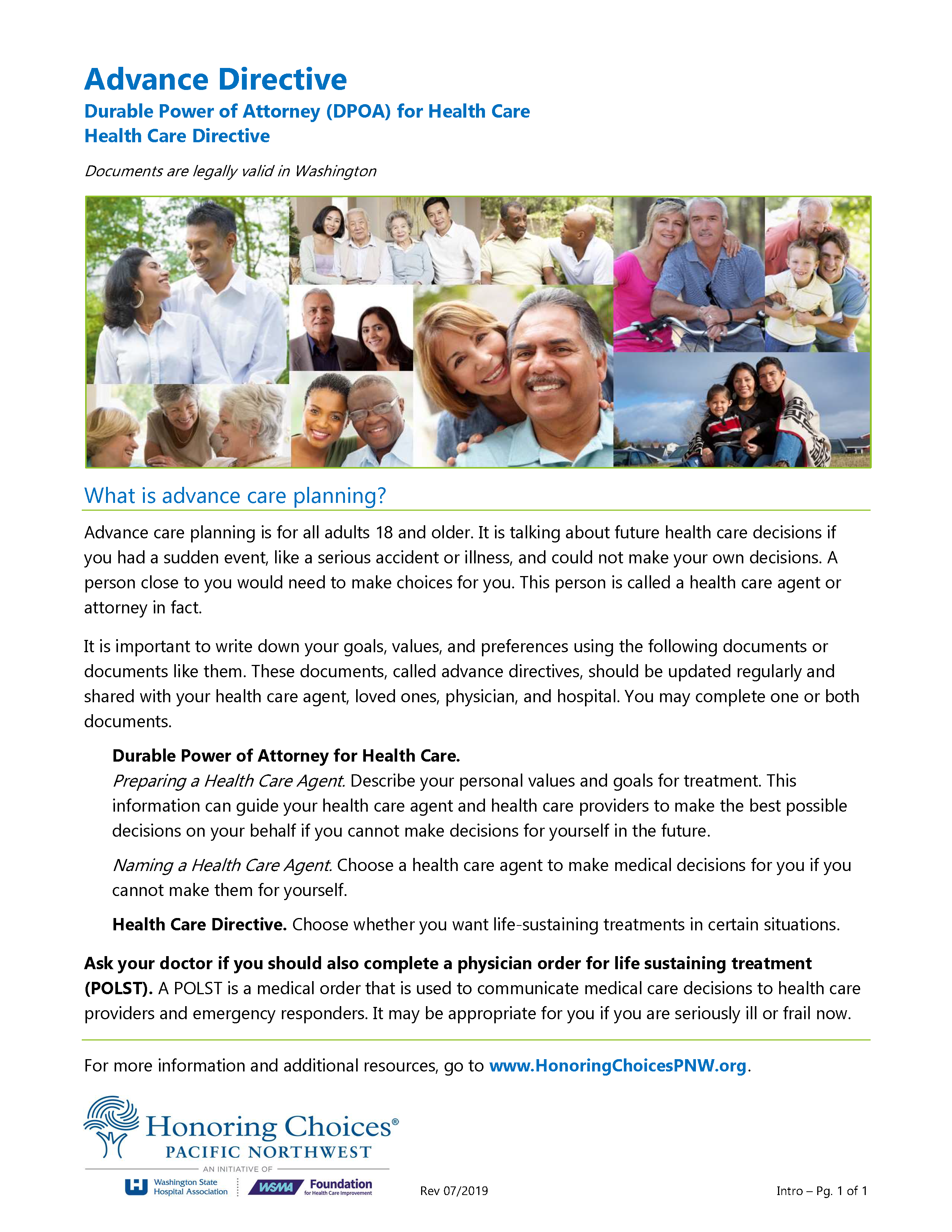 Washington Advance Directive For Health Care