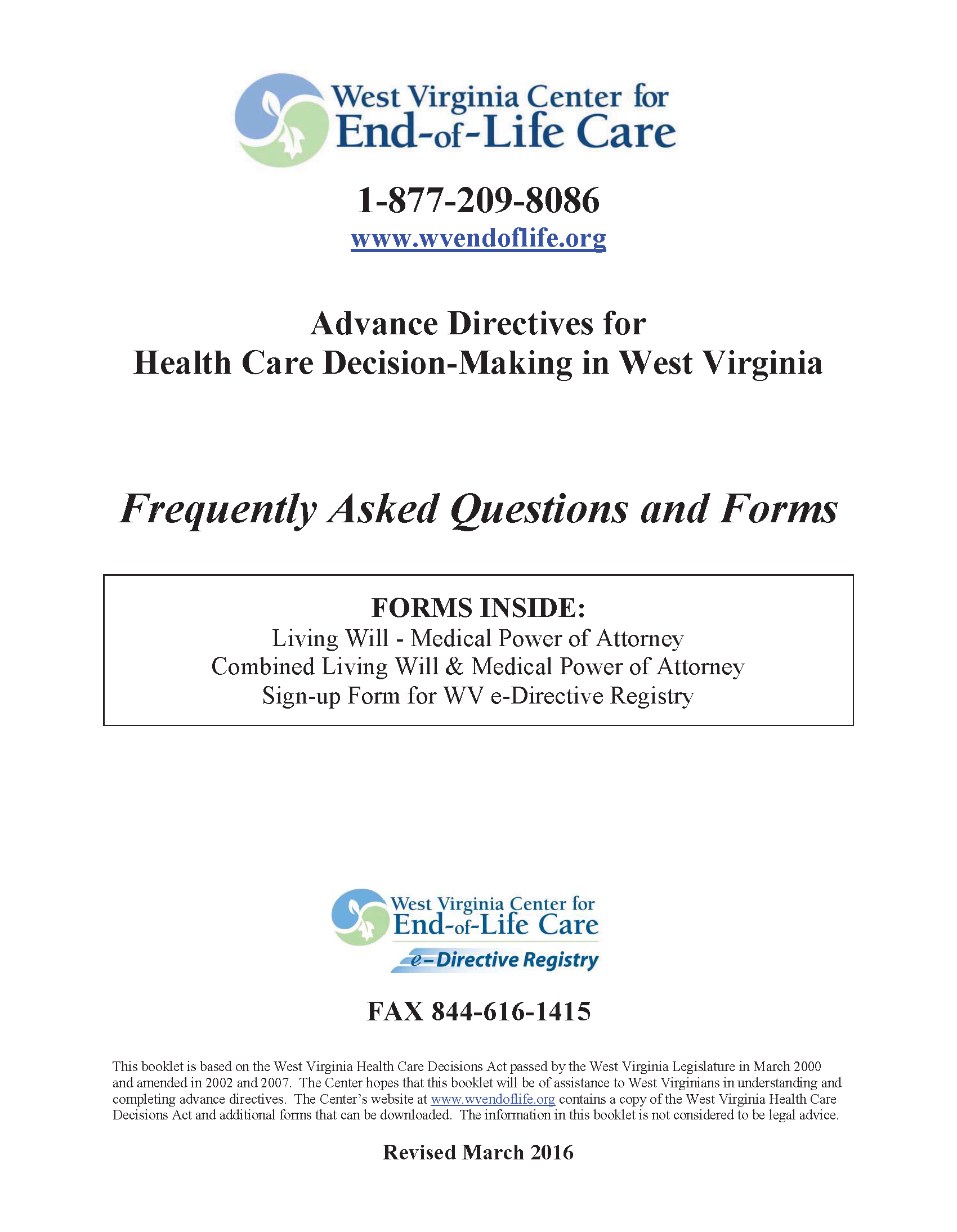 West Virginia Advance Directive For Health Care