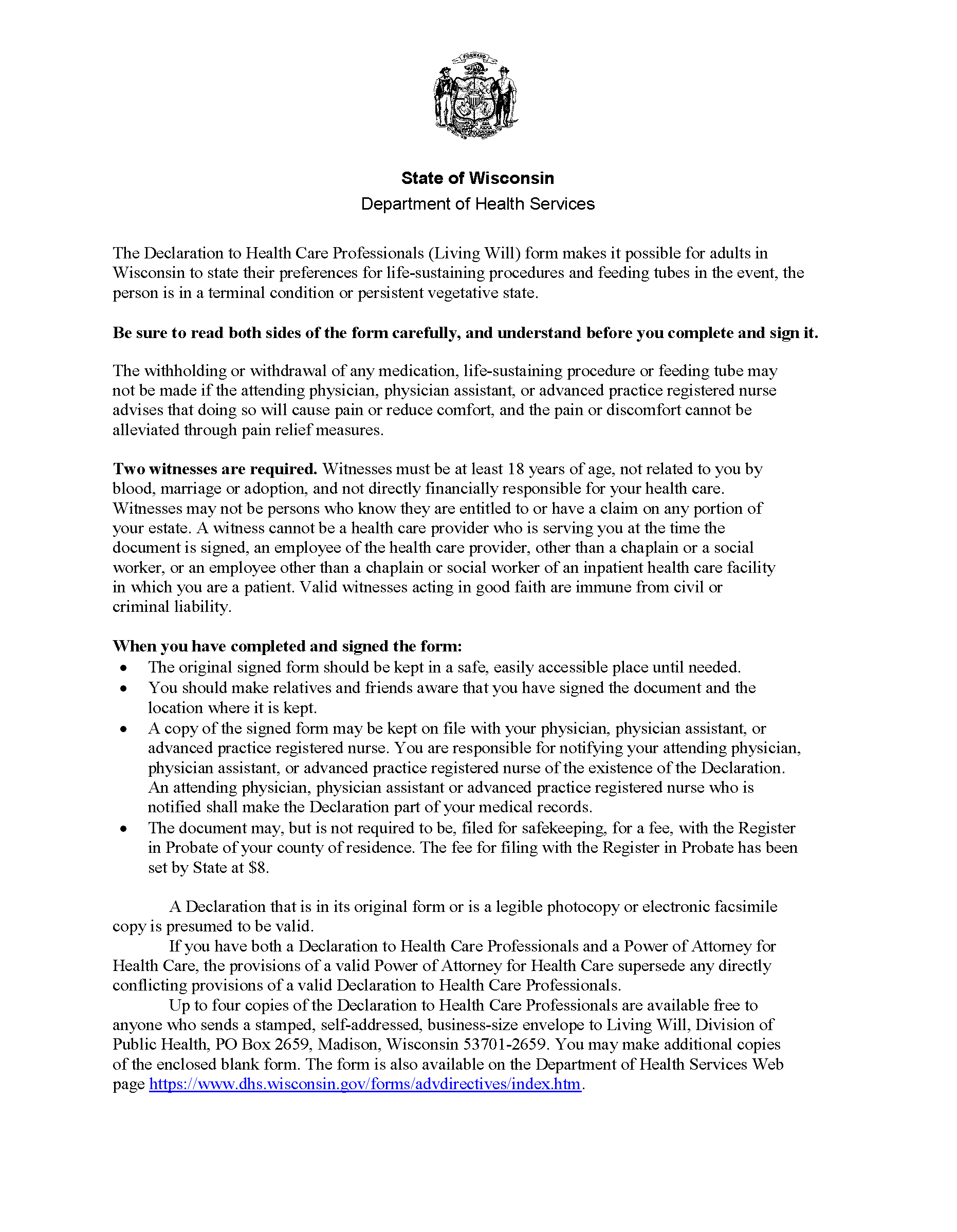 Wisconsin Advance Directive For Health Care