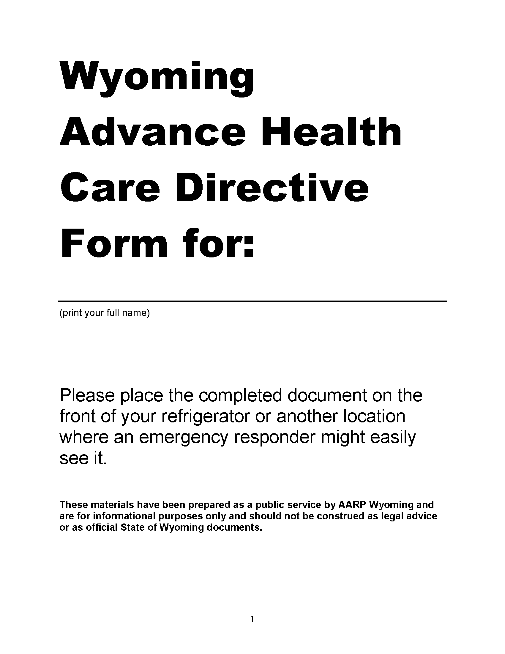 Wyoming Advance Directive For Health Care