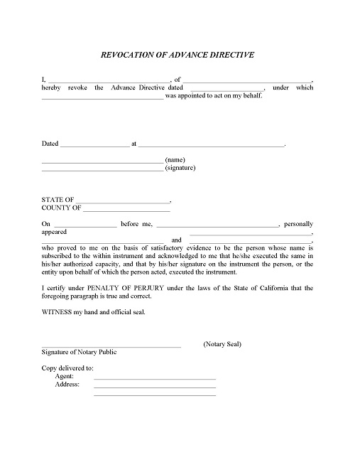 Revocation of Advance Directive