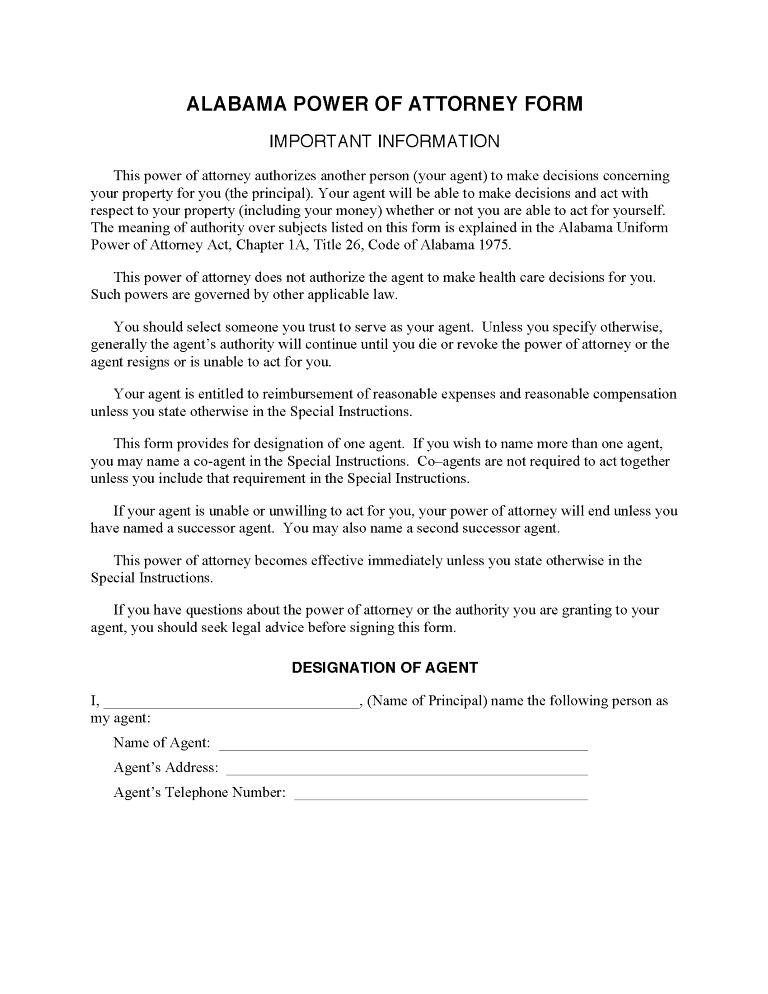 Alabama Financial Power of Attorney Form