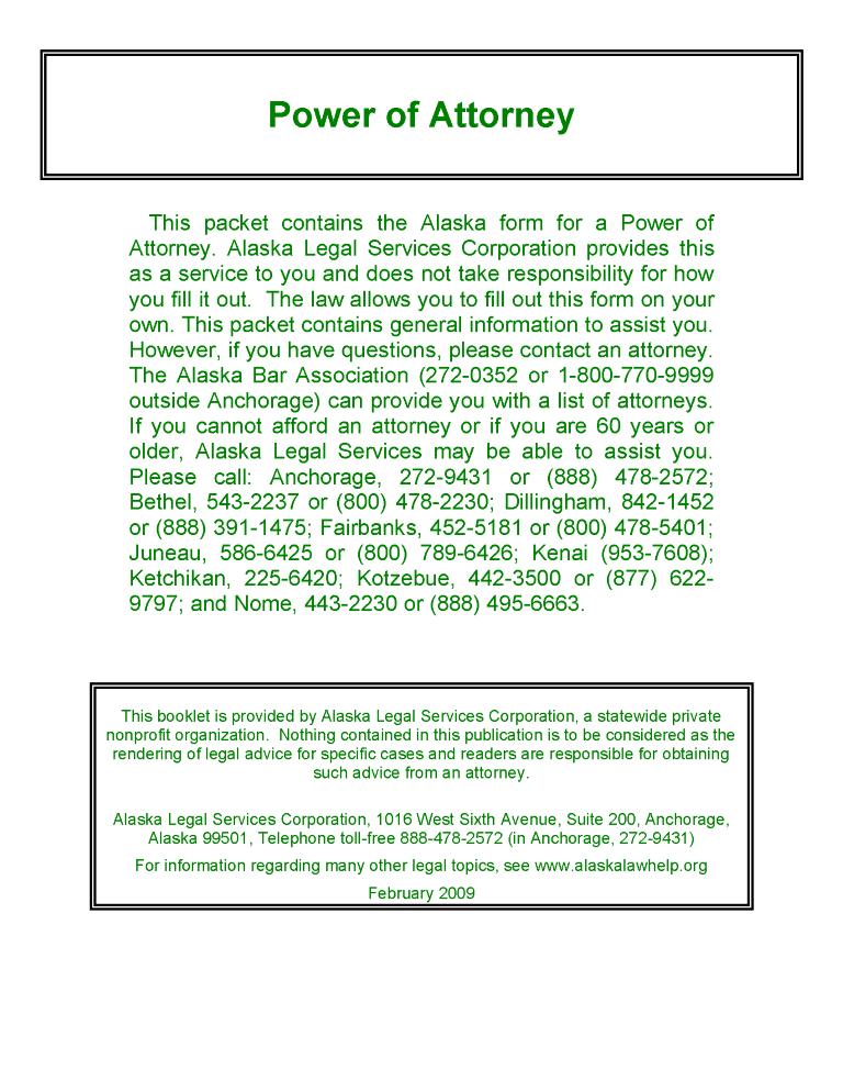 Alaska Financial Power of Attorney Form