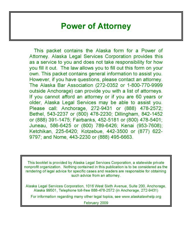 Alaska Power of Attorney Form Free Printable