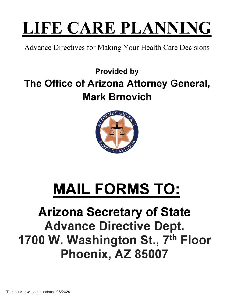 Arizona Advance Directive For Health Care Form