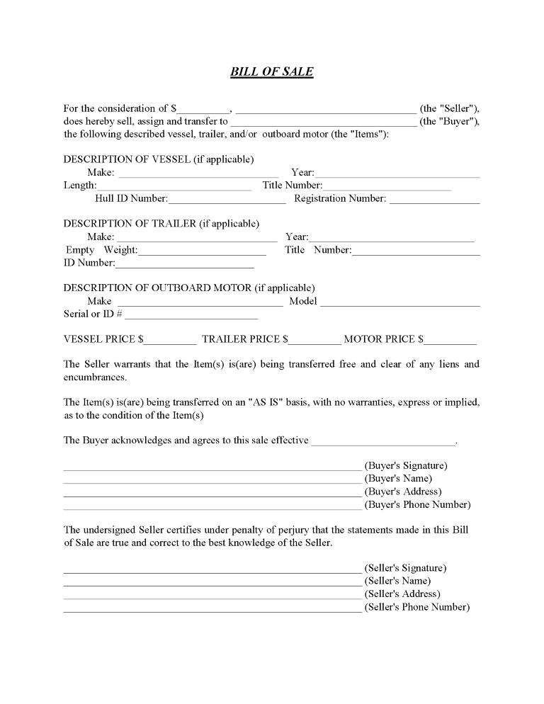 Boat Bill of Sale Form