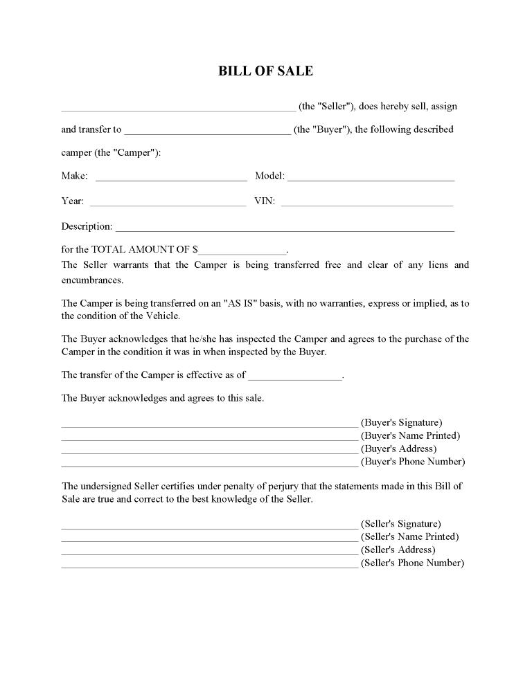 Camper Bill of Sale Form
