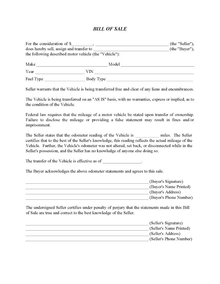 Car Bill of Sale Form