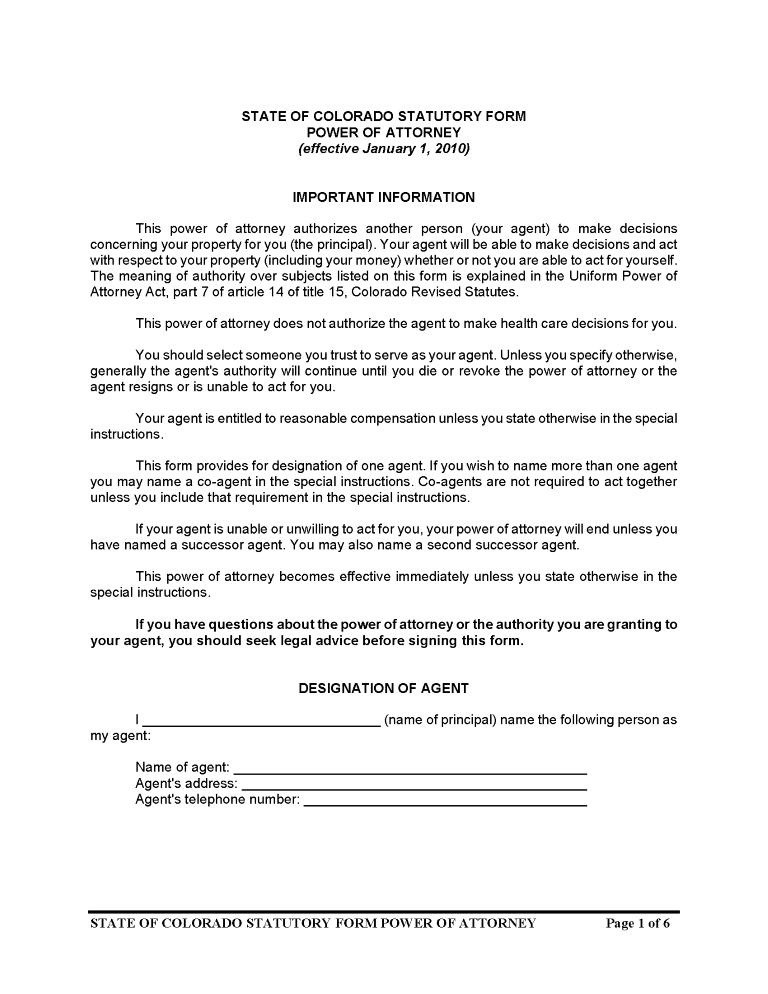 Colorado Durable Power of Attorney Form